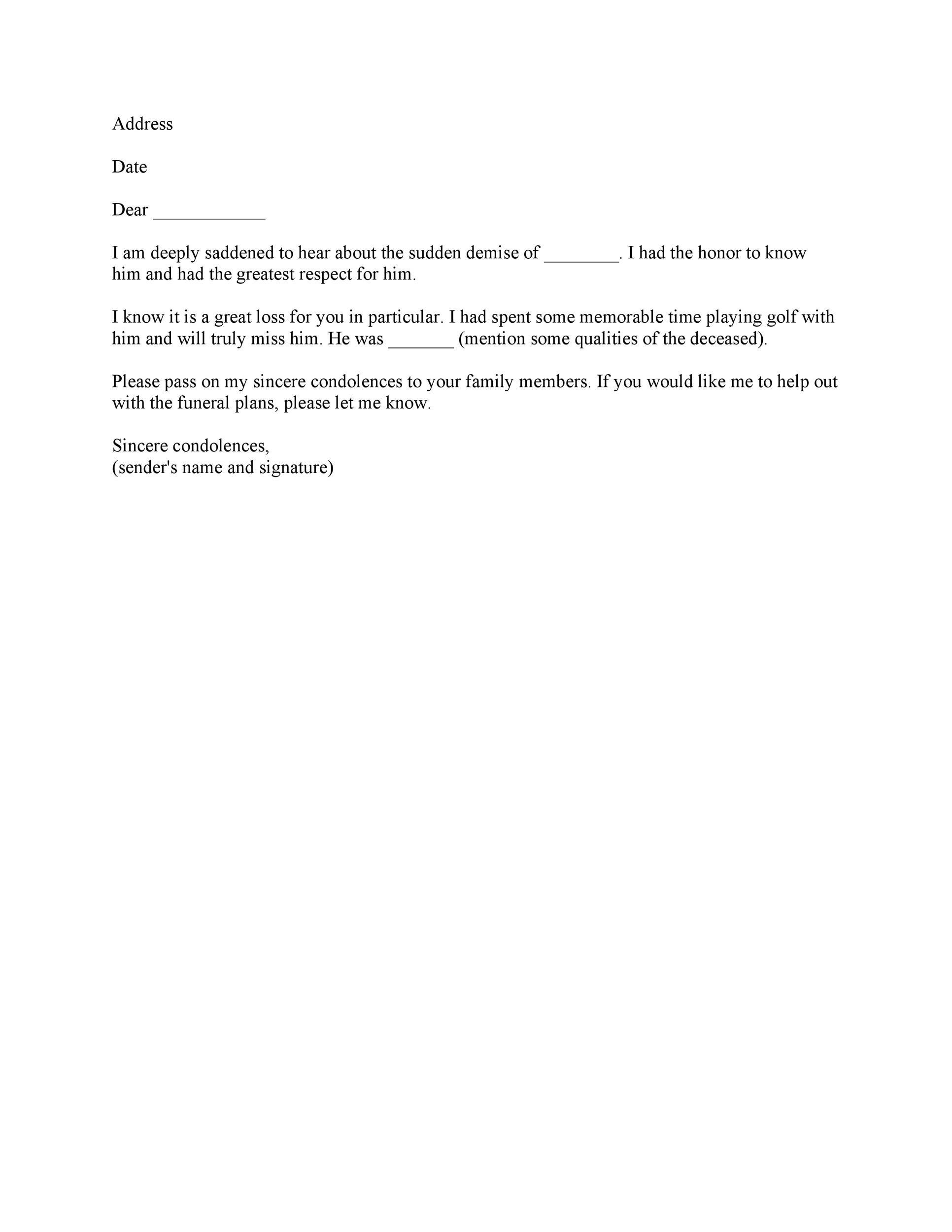 Free condolence letter 08