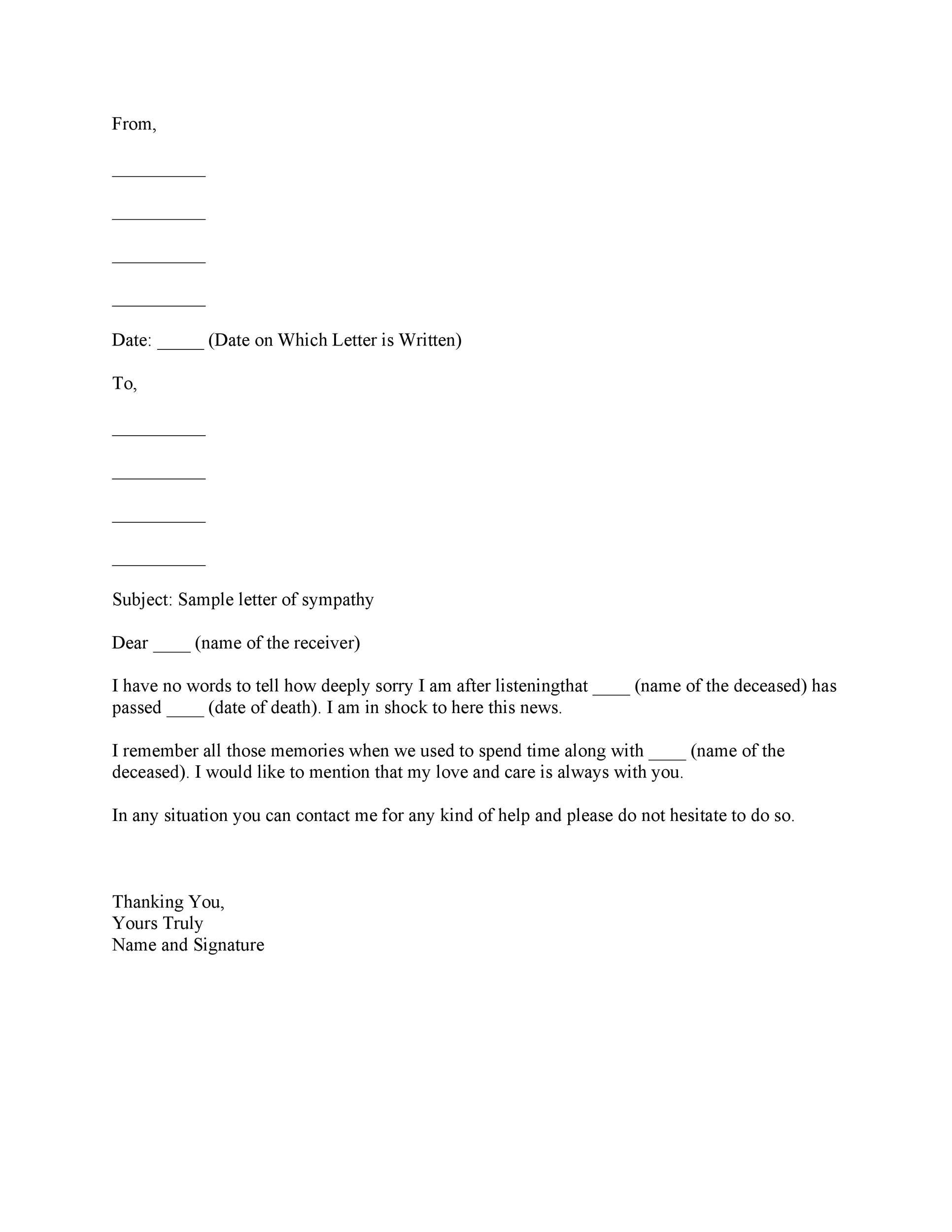 Free condolence letter 09