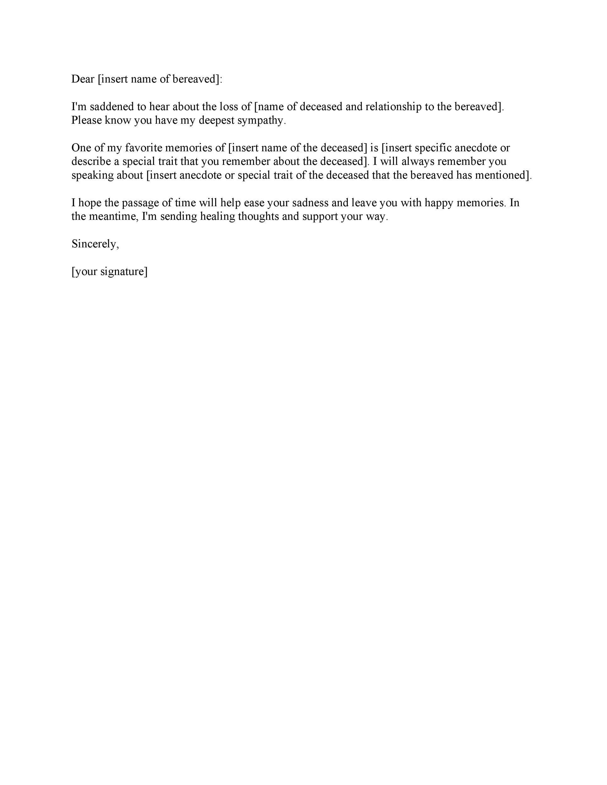 Free condolence letter 12