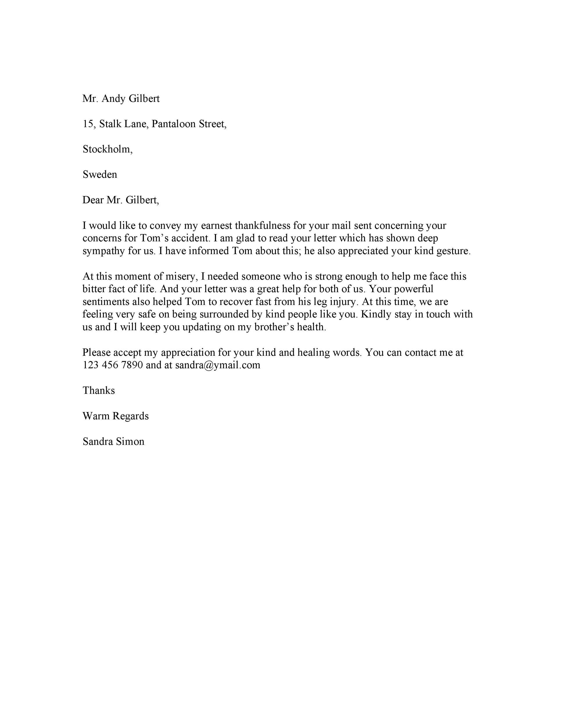 Free condolence letter 19