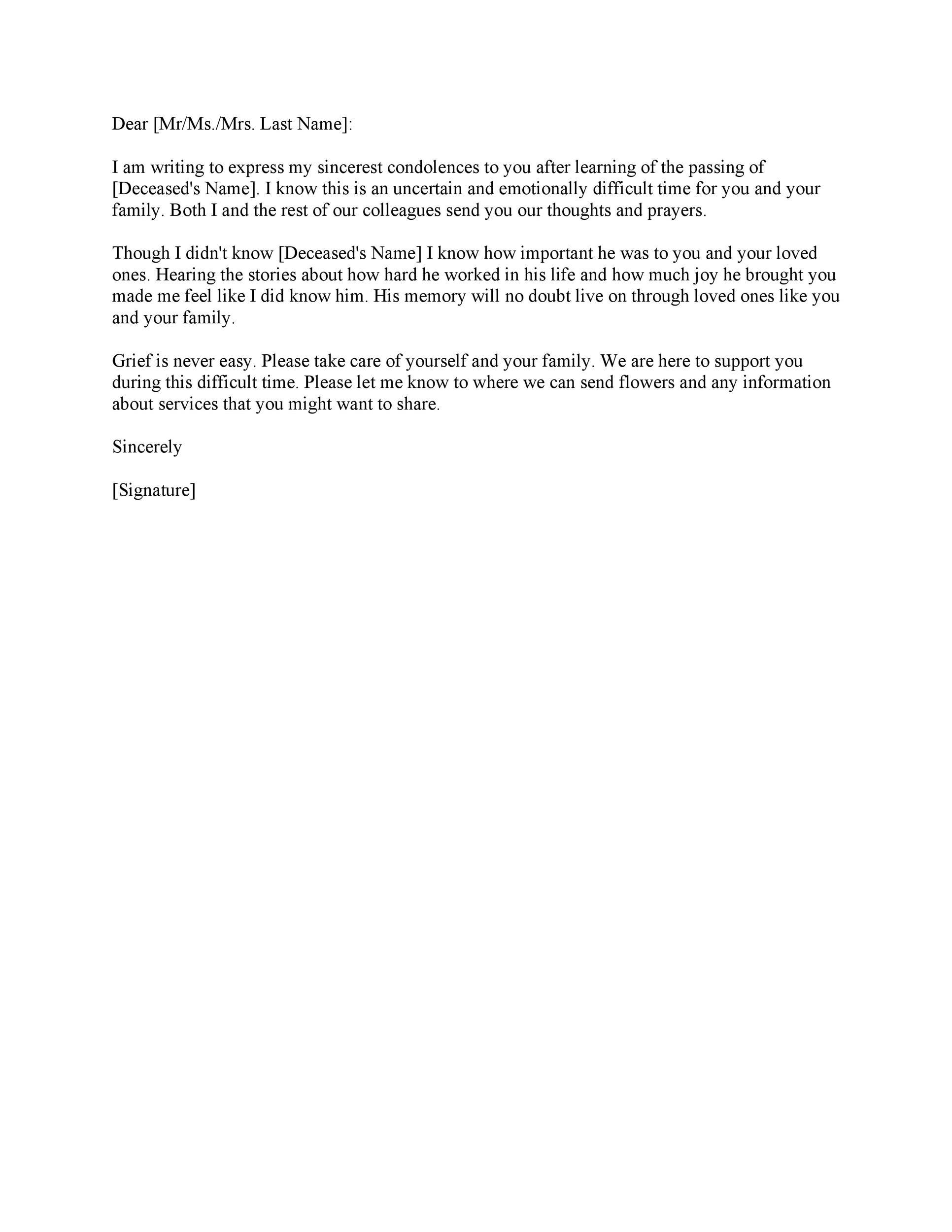 Free condolence letter 21