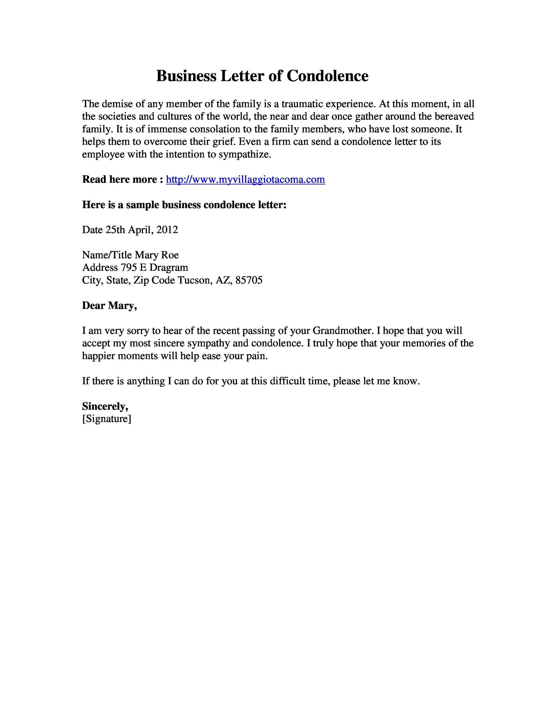 Free condolence letter 23