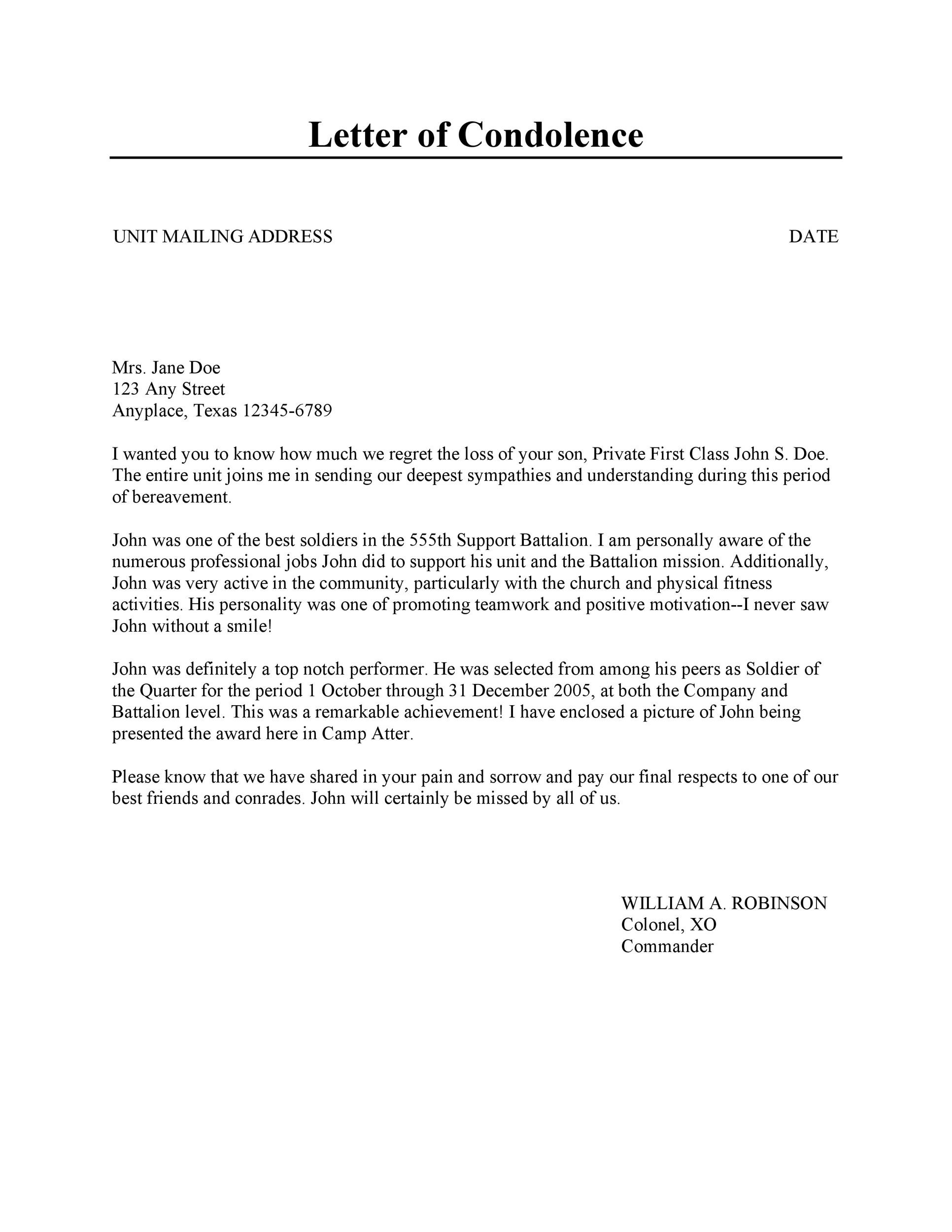 41 Condolence & Sympathy Letter Samples - Template Lab