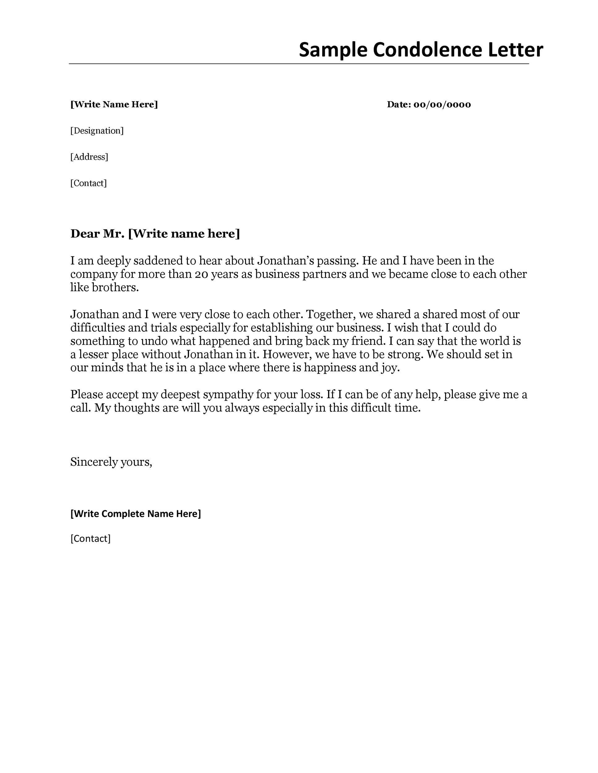 Free condolence letter 34