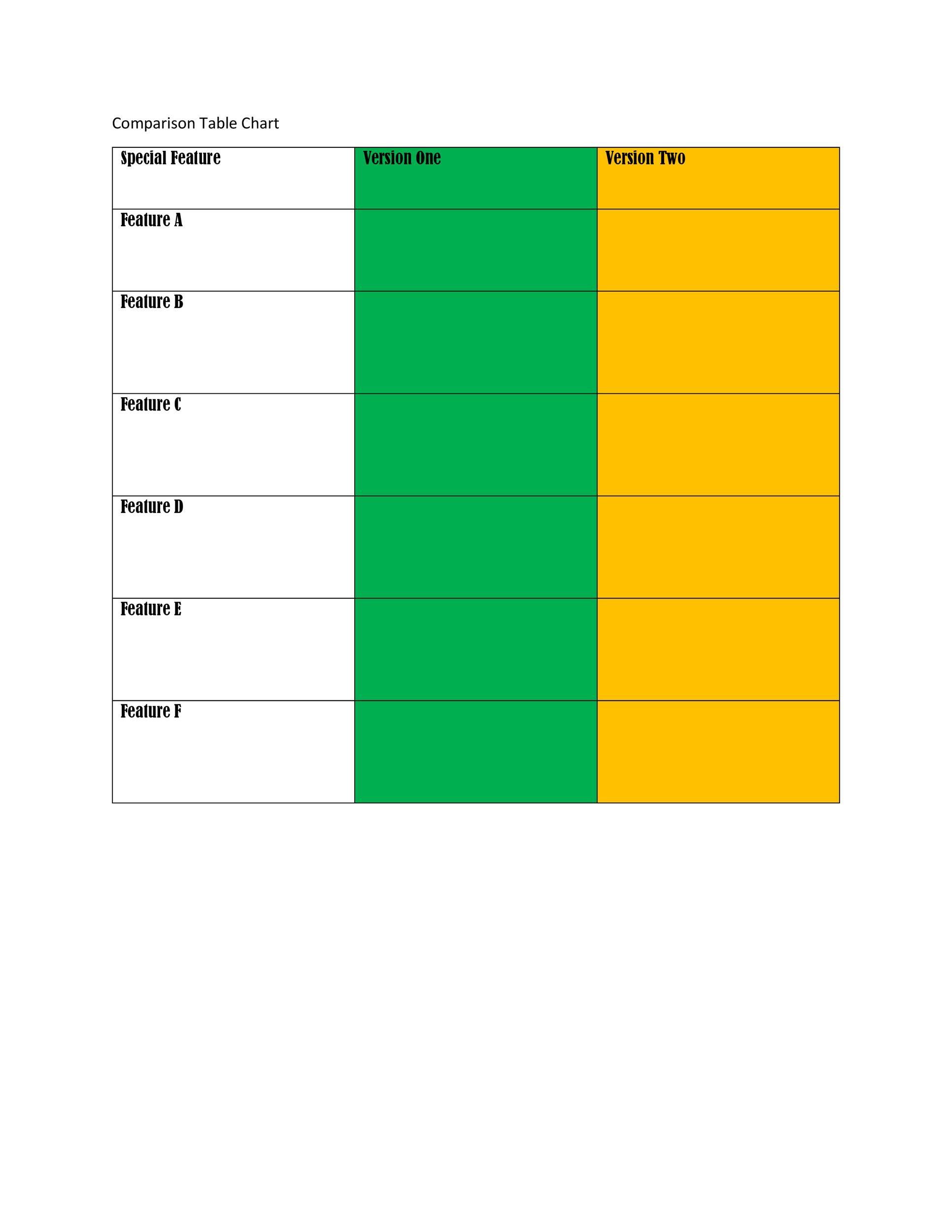 Free Comparison Chart Template 26