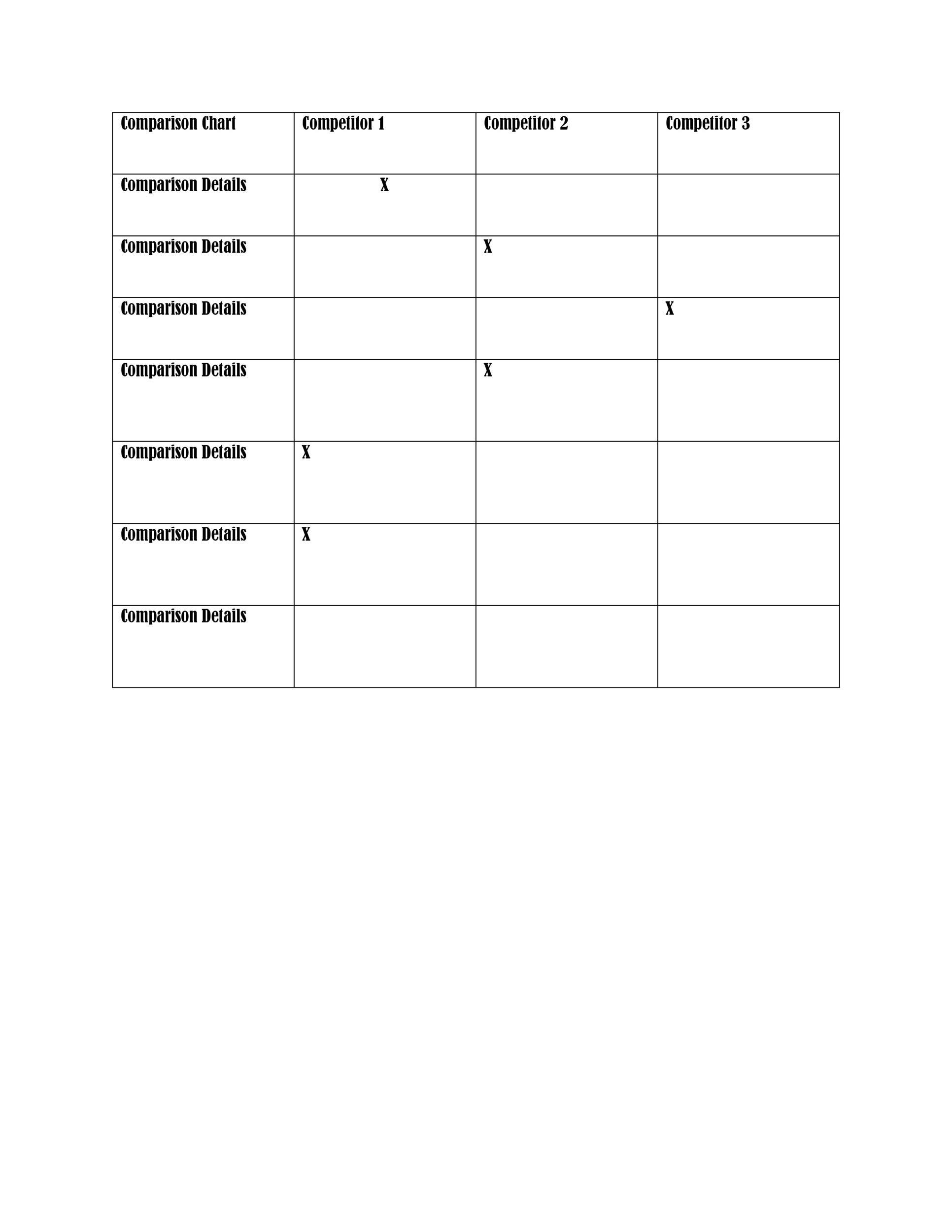Free Comparison Chart Template 27