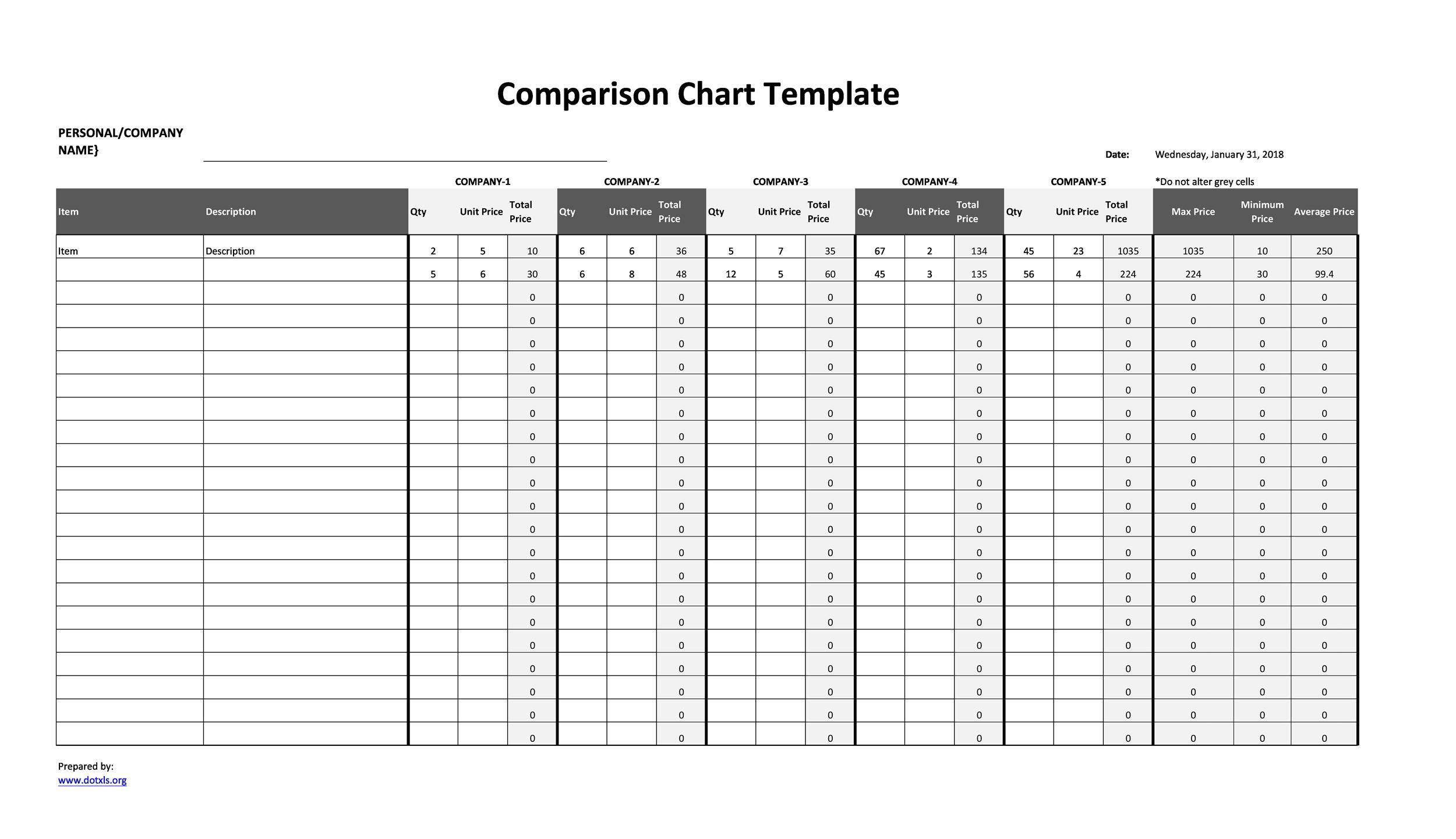 Free Comparison Chart Template 40