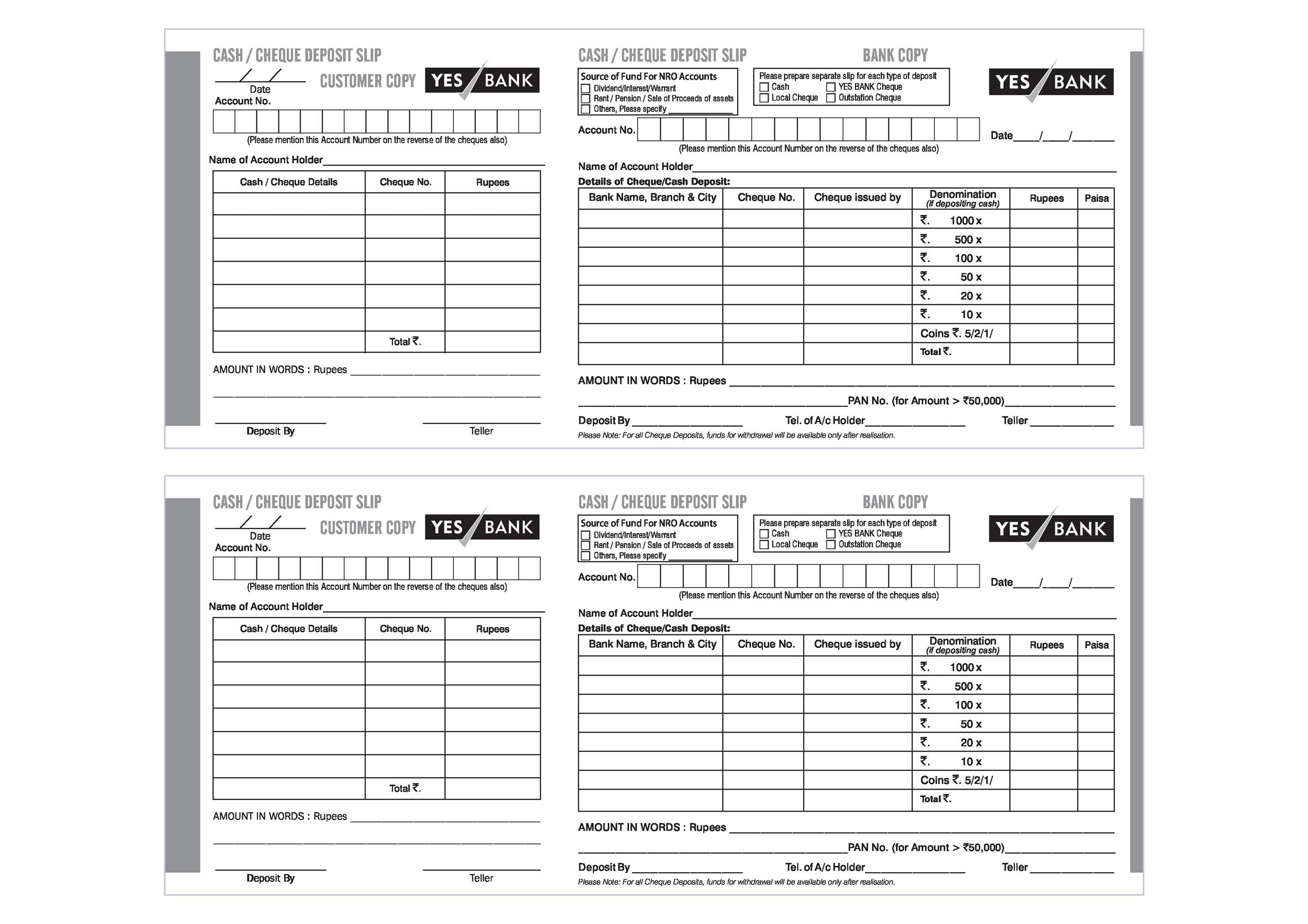 Bank deposit slips template for Withdrawal slip template