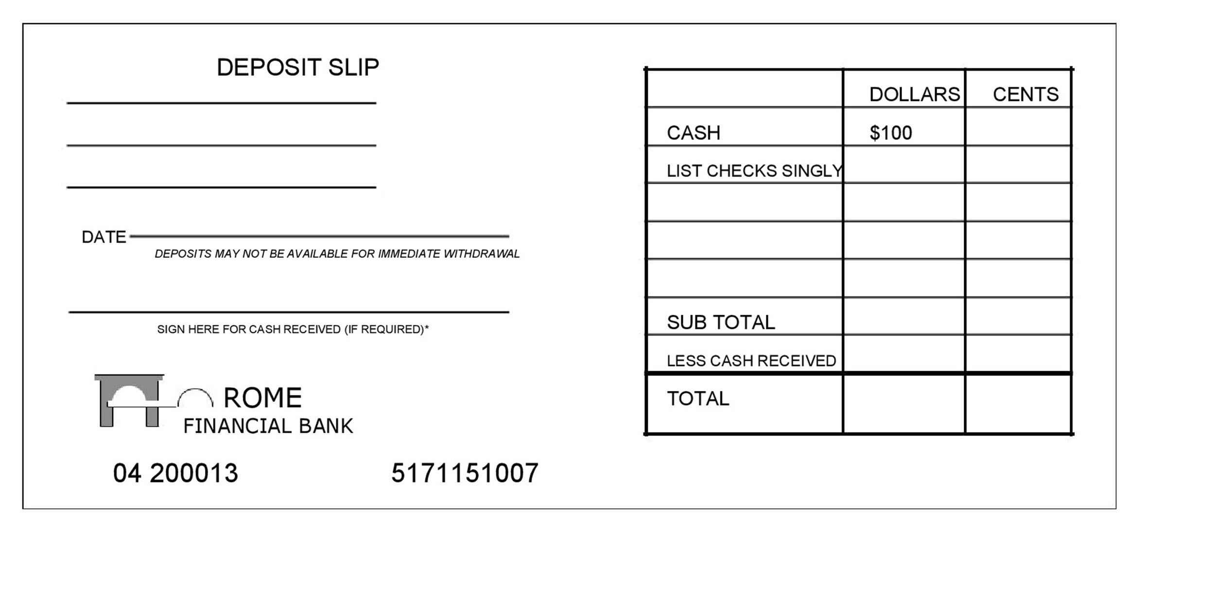 cash deposit form template  deposit templates - Makar.bwong.co
