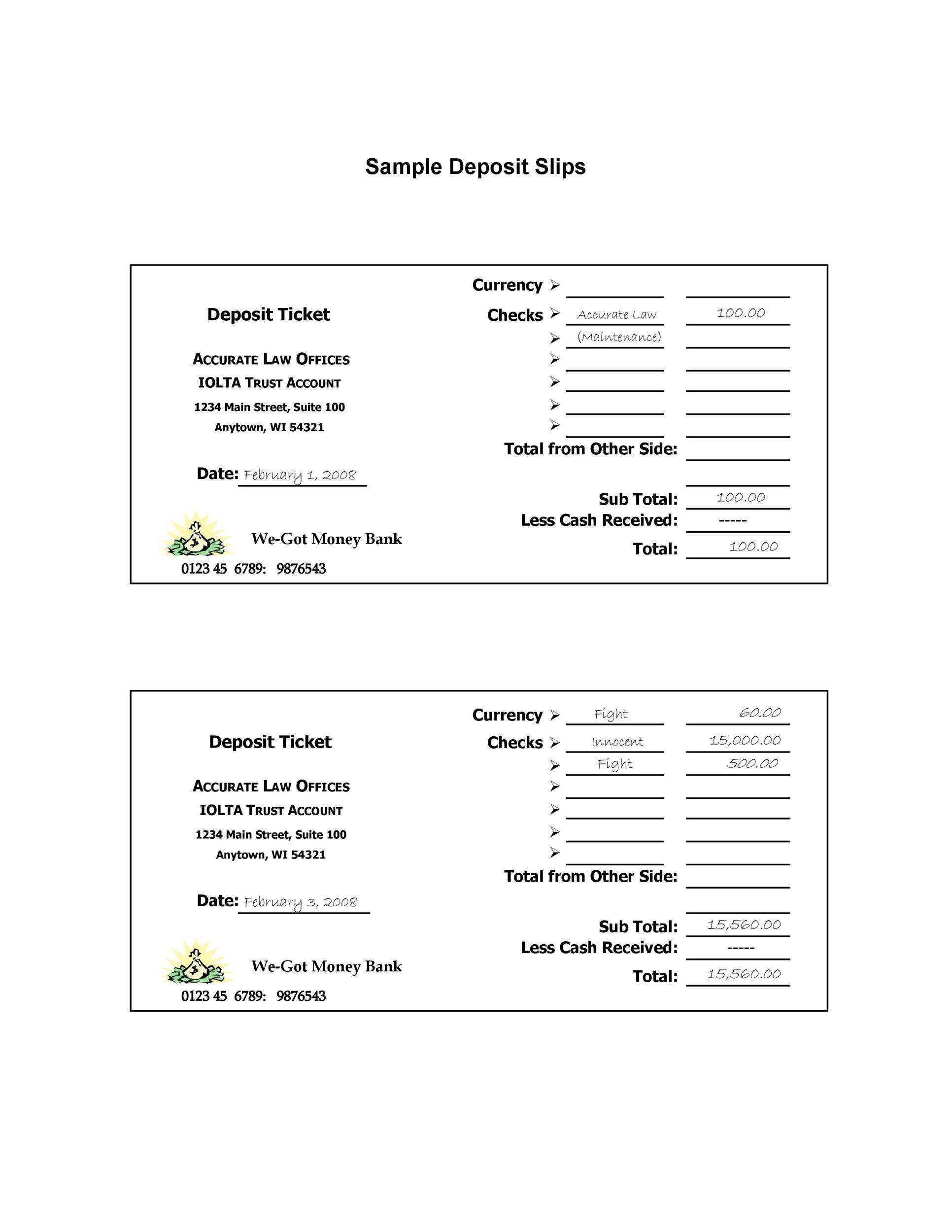 37 Bank Deposit Slip Templates & Examples ᐅ TemplateLab