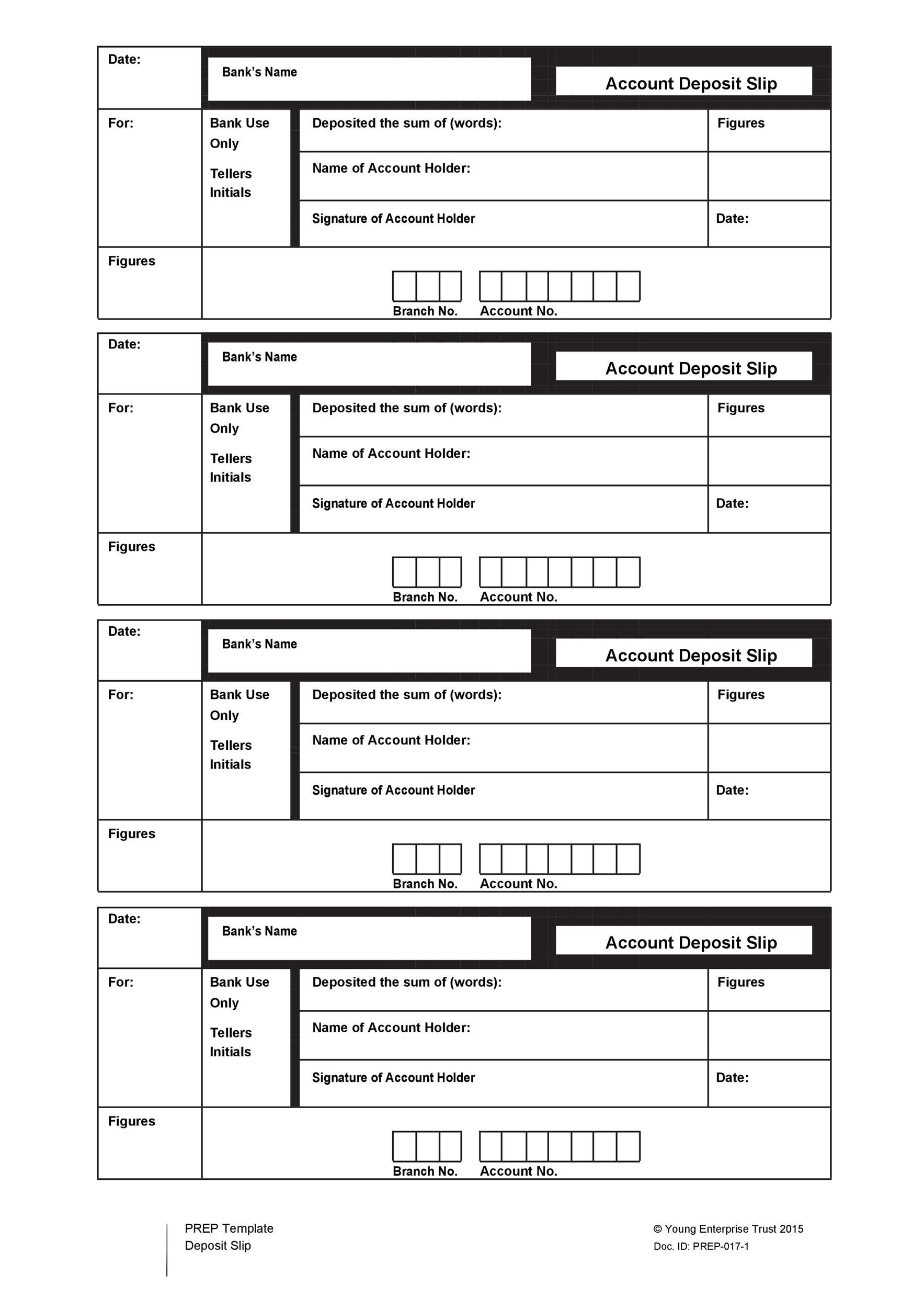 Deposit slips template word five things your boss needs to for Checking deposit slip template
