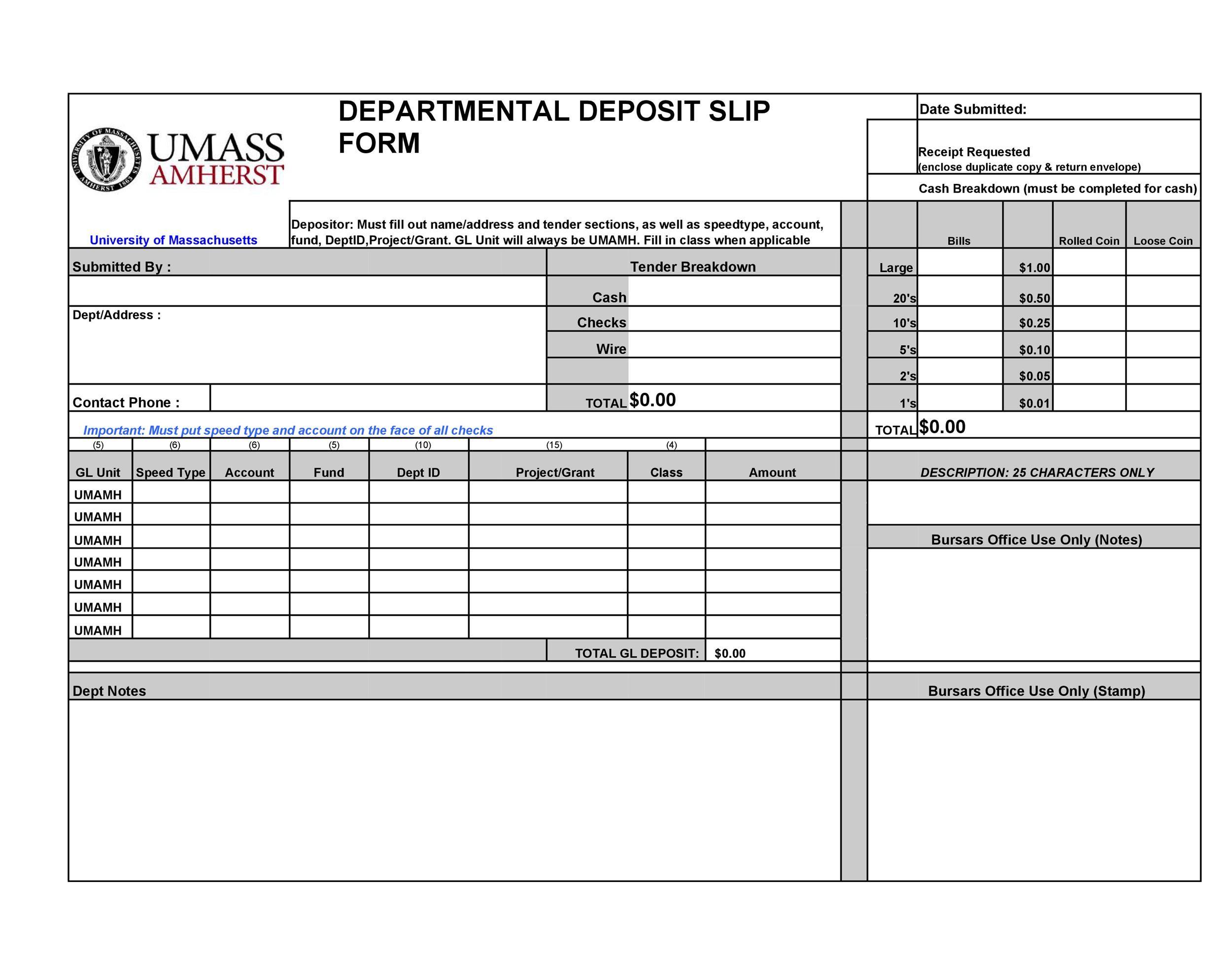 Free Deposit Slip Template 19