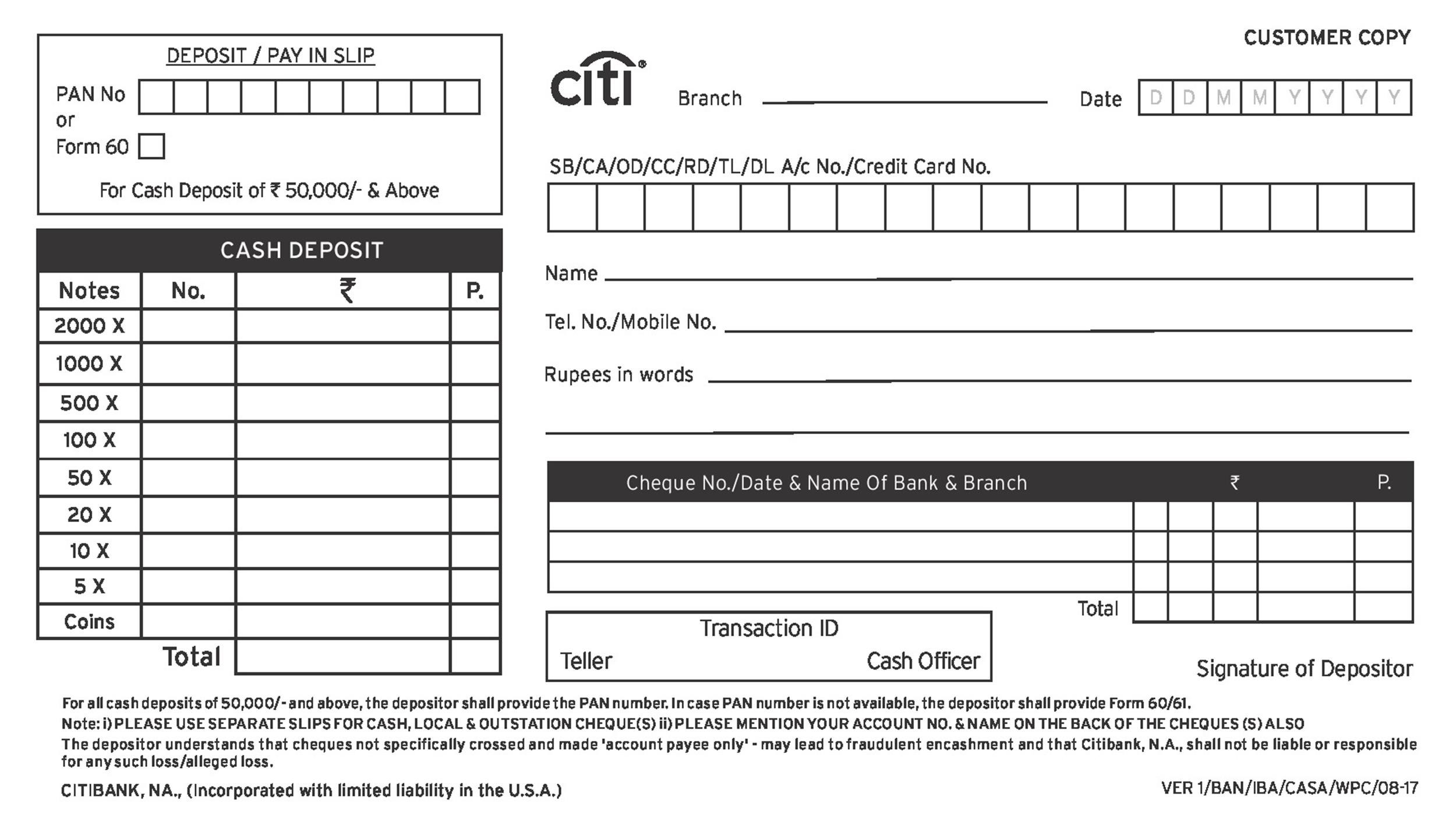 cash deposit form template  11 Bank Deposit Slip Templates & Examples ᐅ Template Lab