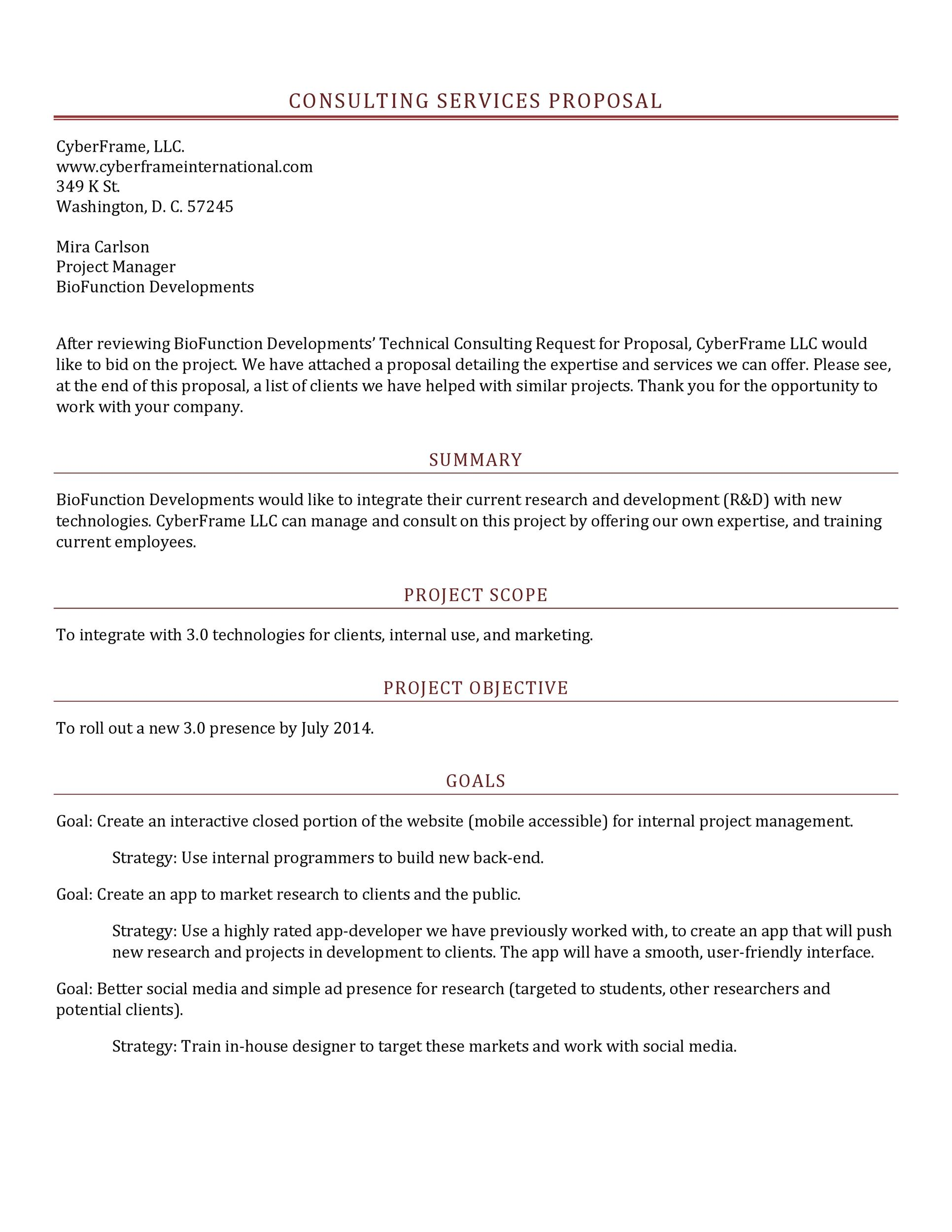 39 Best Consulting Proposal Templates Free Template Lab