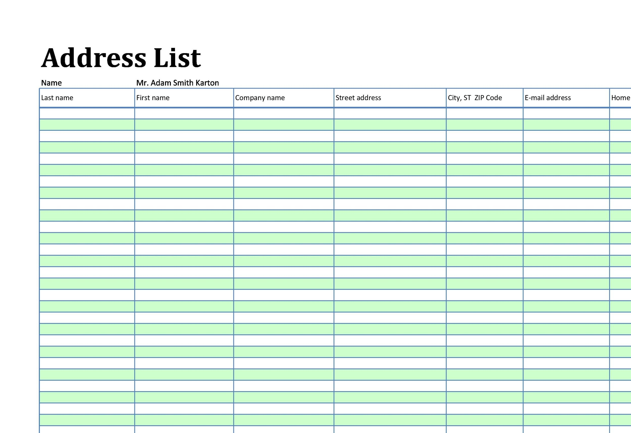Phone  Email Contact List Templates Word Excel  Template Lab