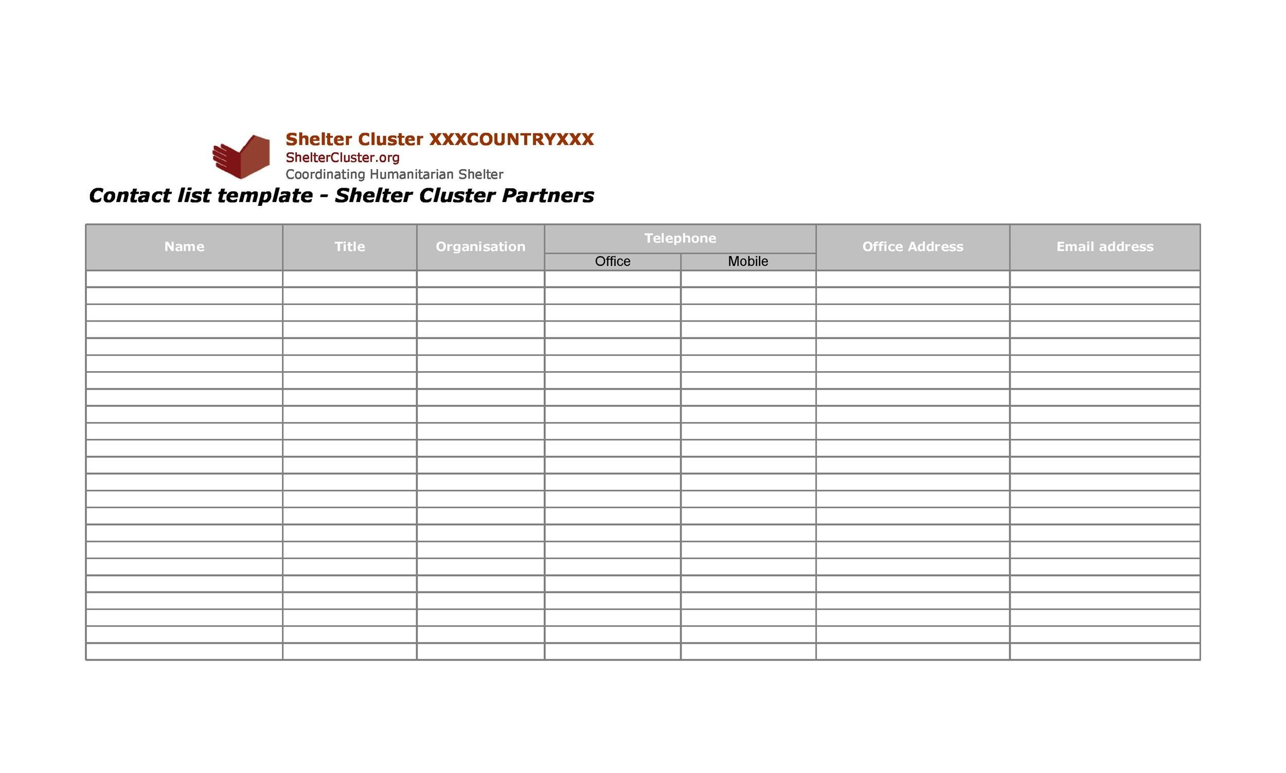 Free contact list template 07