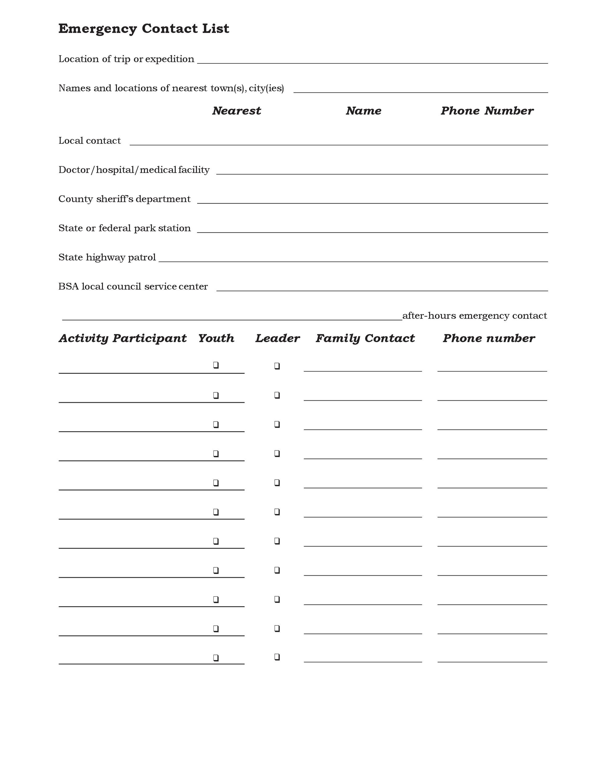 Printable Contact List Template 24