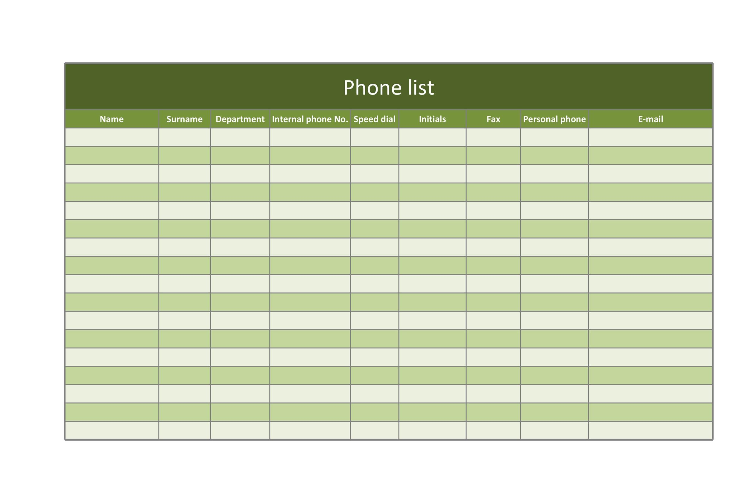 Free contact list template 27