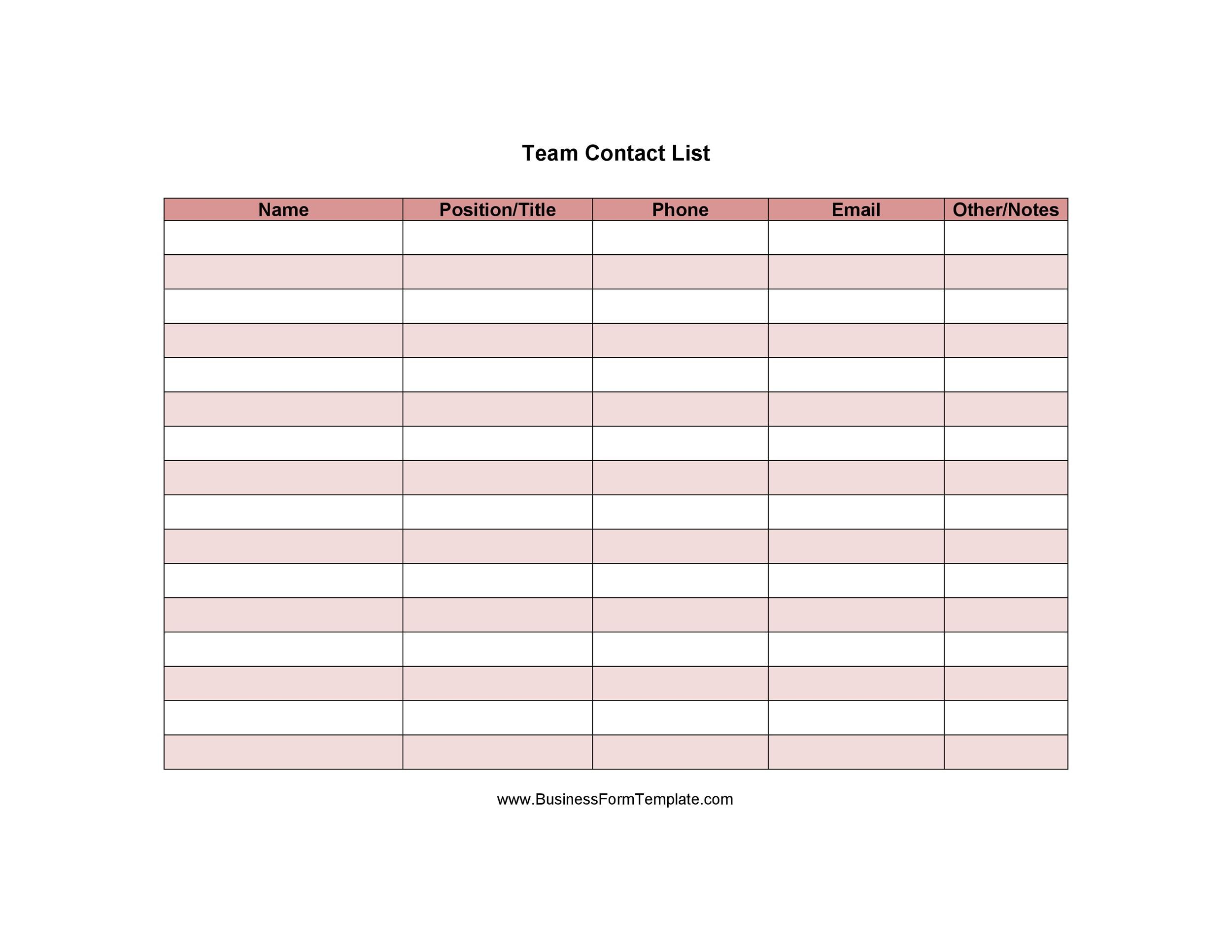 Free contact list template 40