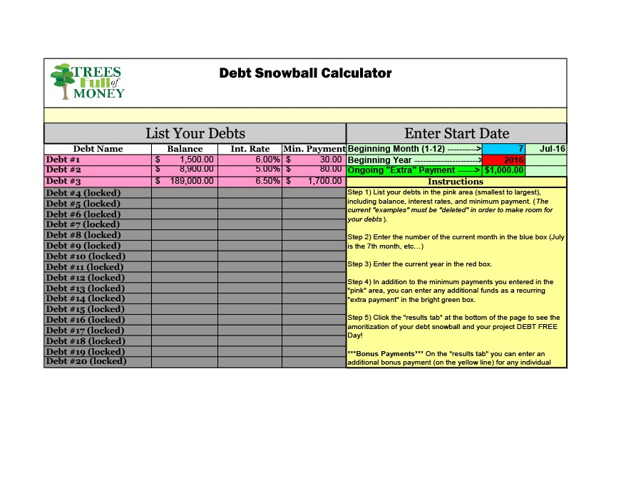 Free debt snowball spreadsheet 06