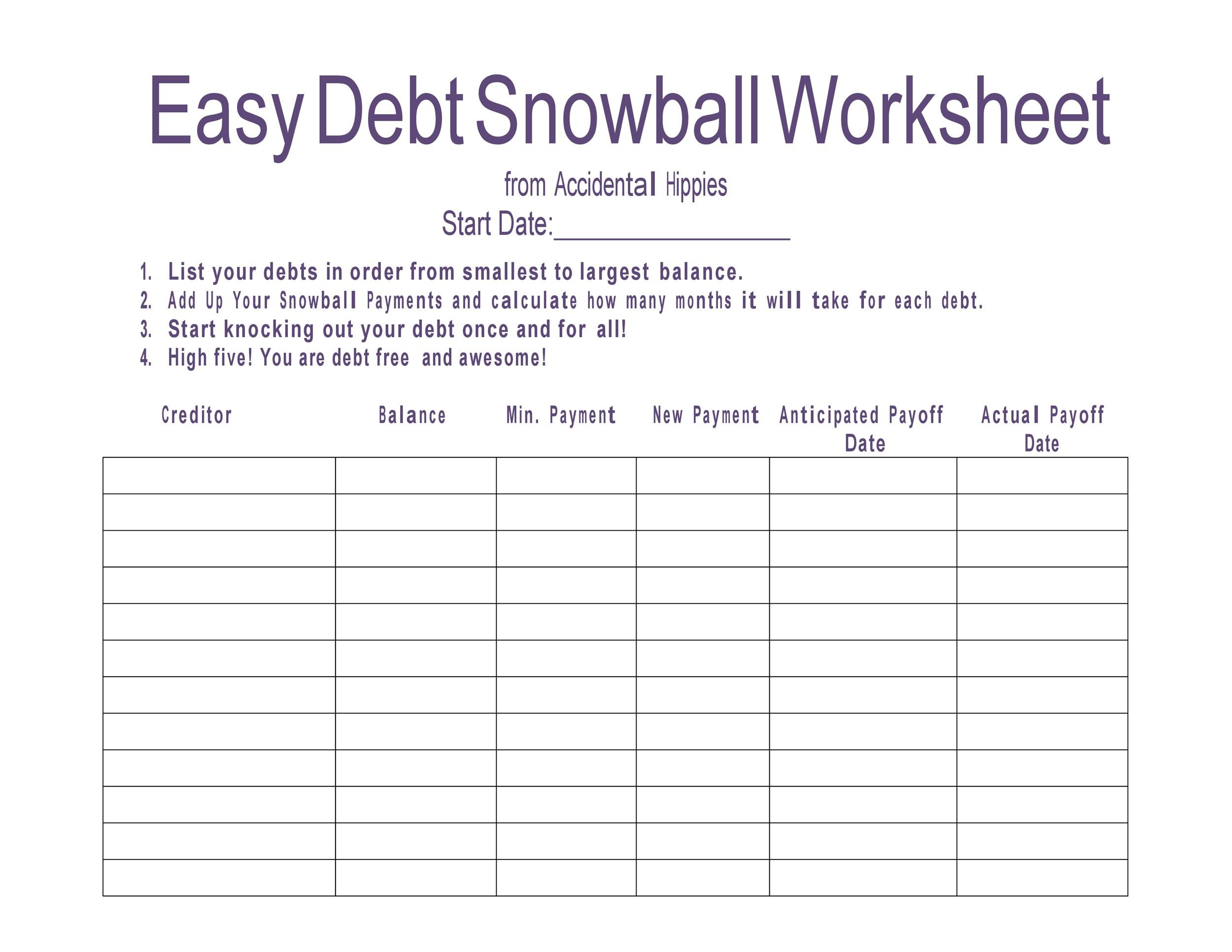 38 Debt Snowball Spreadsheets, Forms & Calculators ❄❄❄