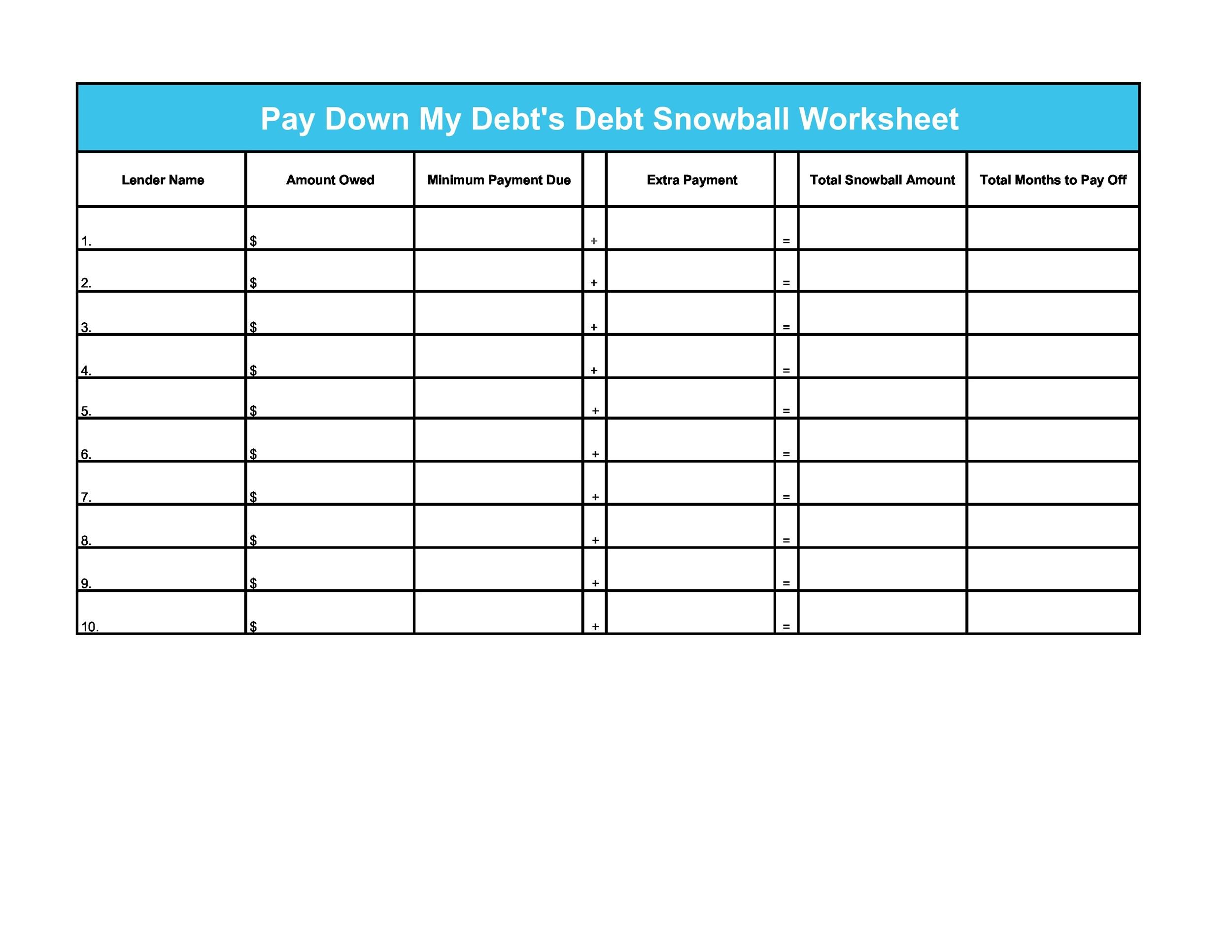 Free debt snowball spreadsheet 28