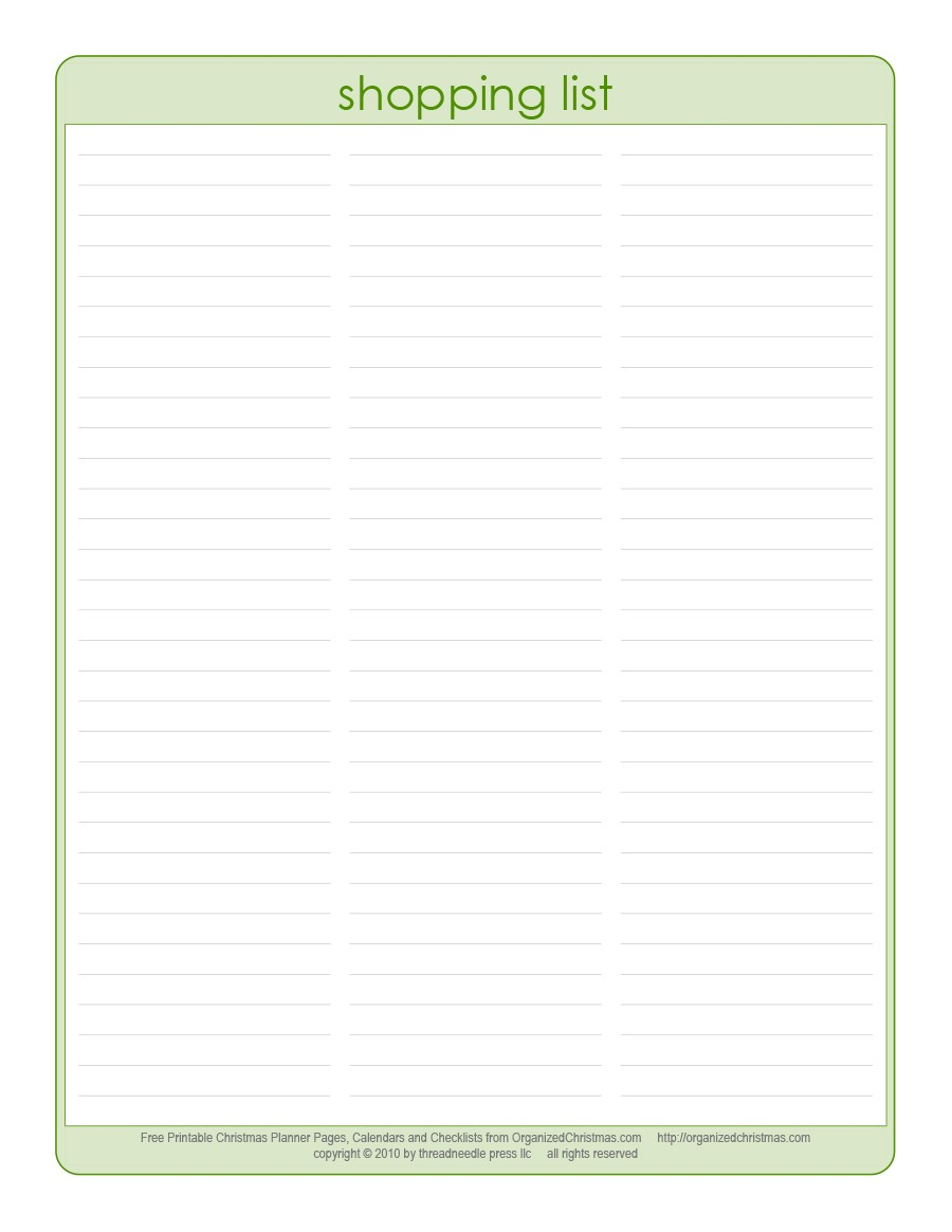 Free grocery list template 02