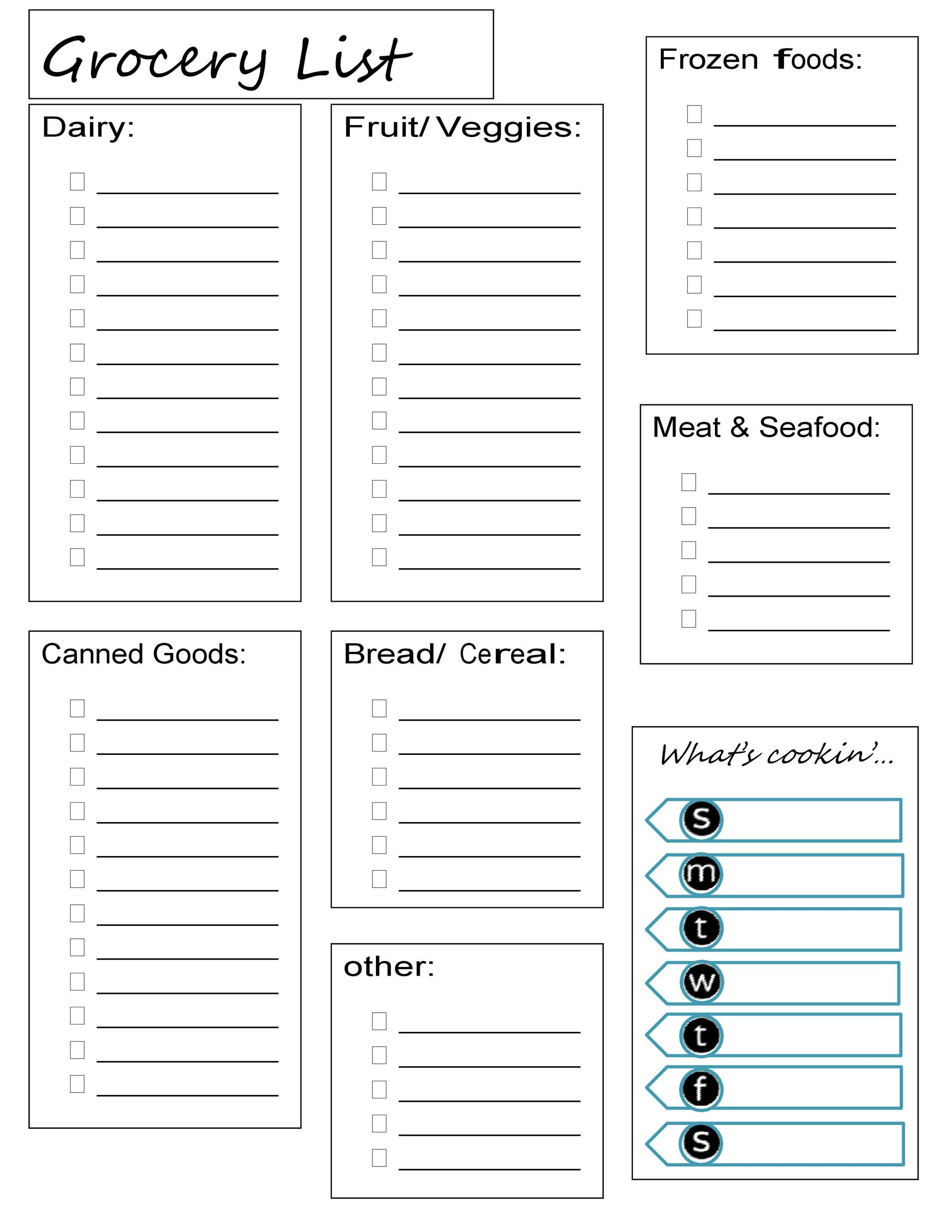 It's just an image of Fabulous Printable Grocery List Template