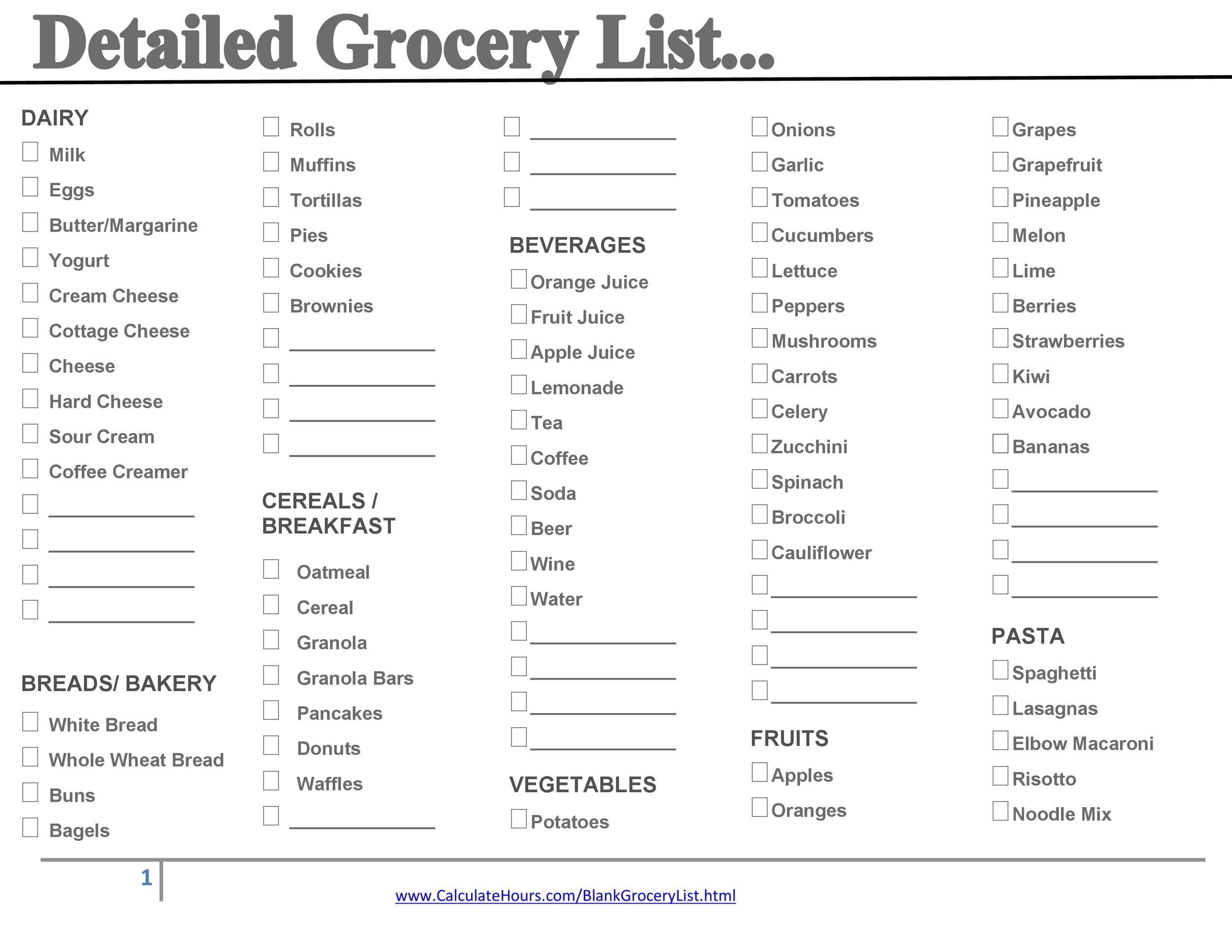 Free grocery list template 09