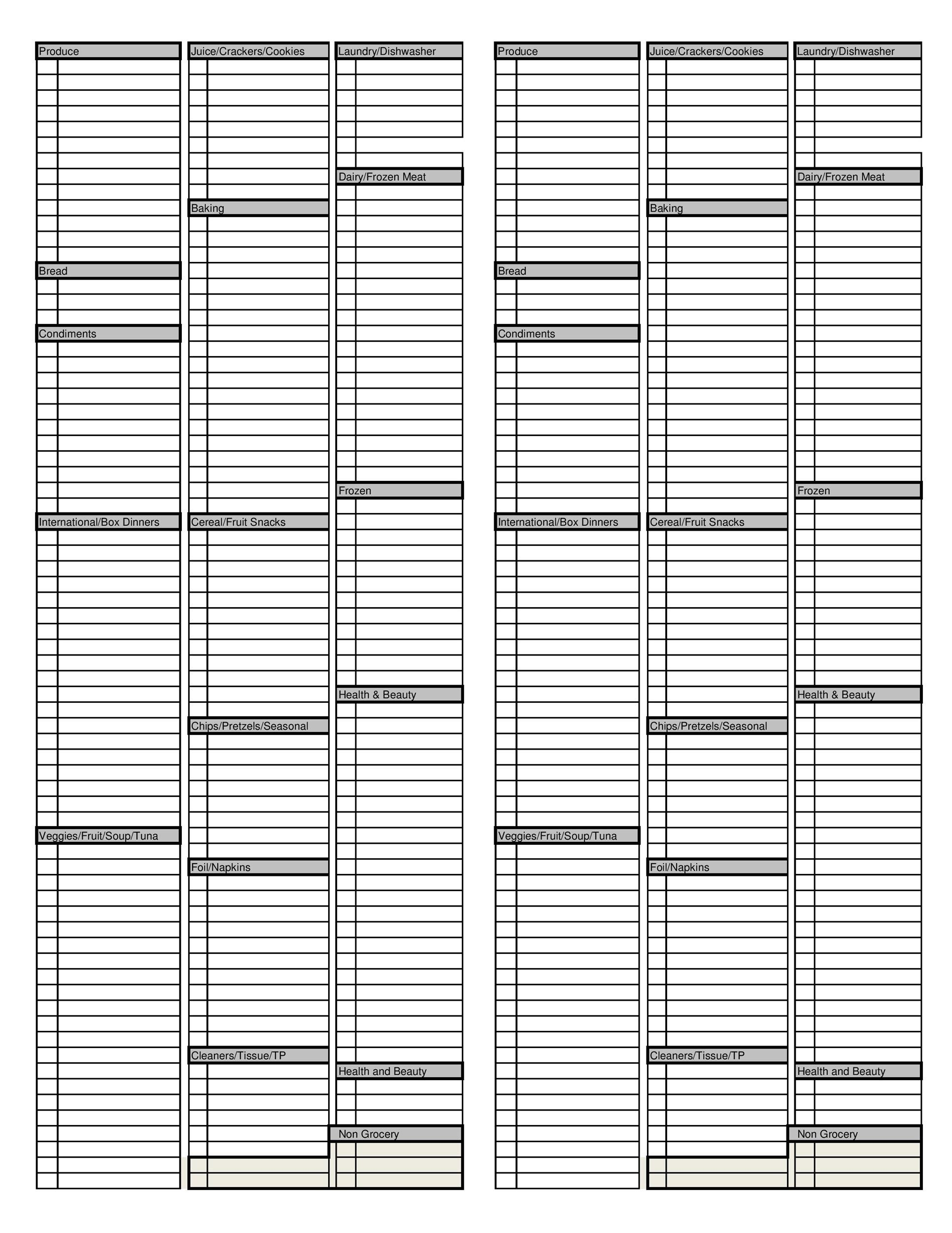 Free grocery list template 16