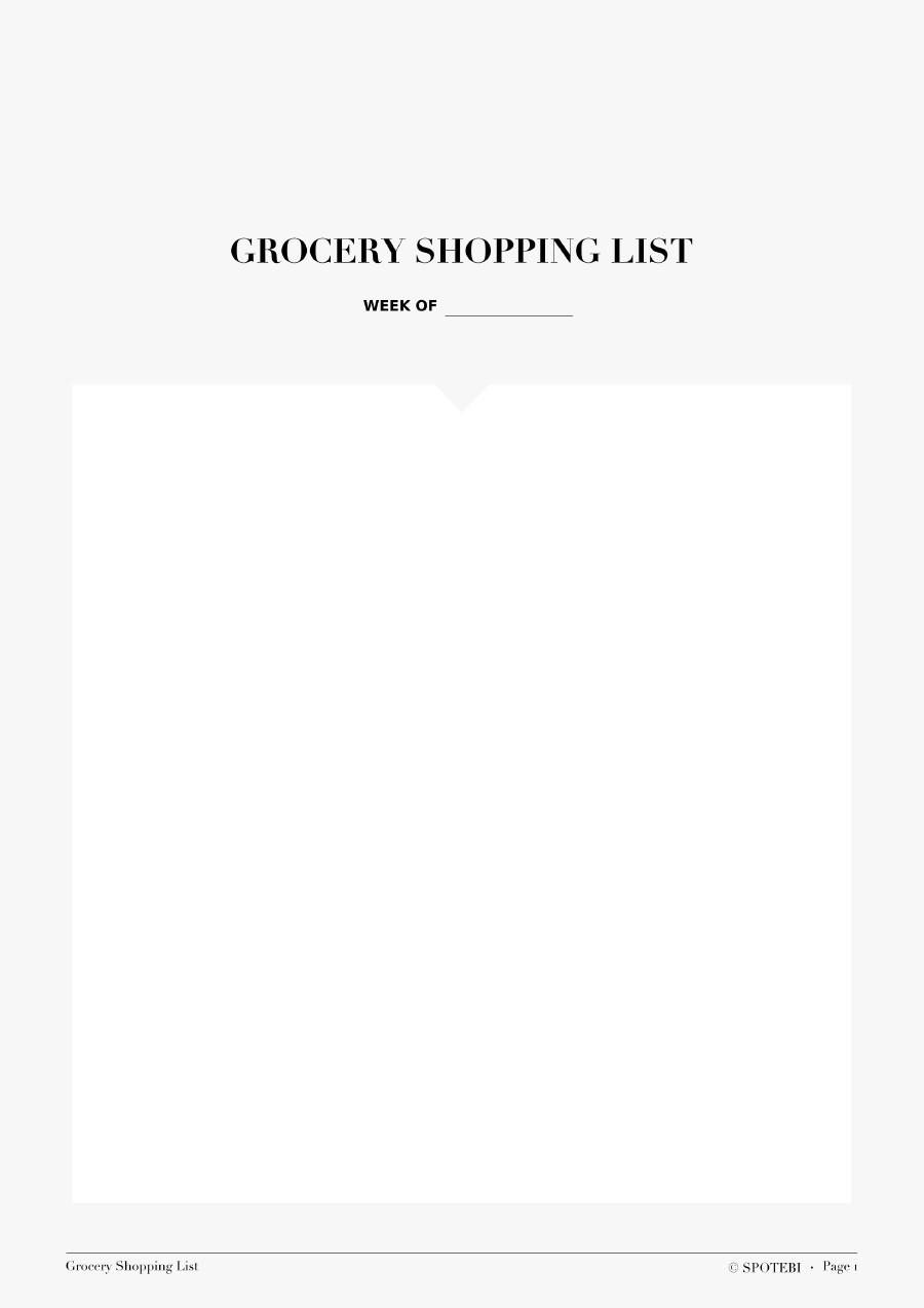 Free grocery list template 19