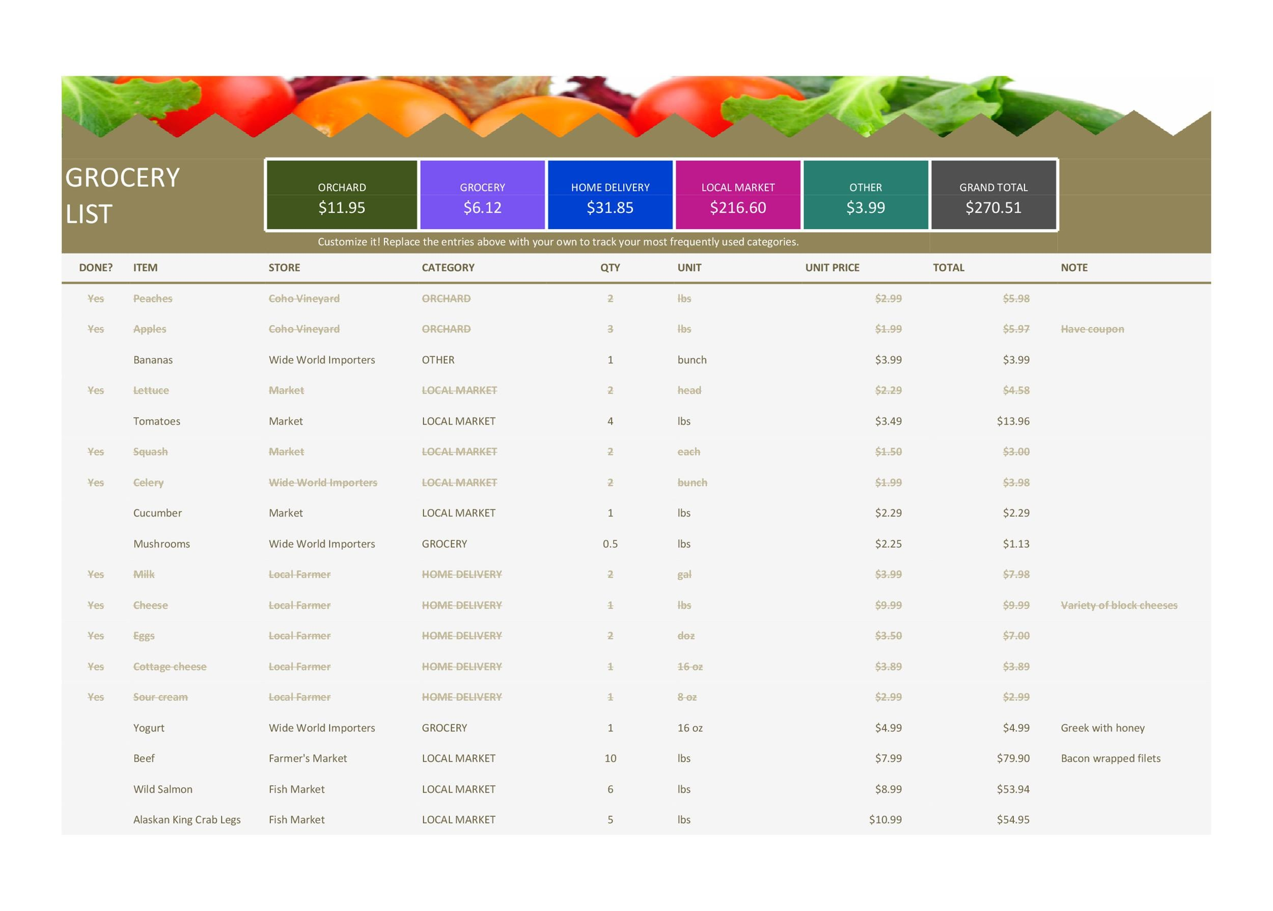 Free grocery list template 21