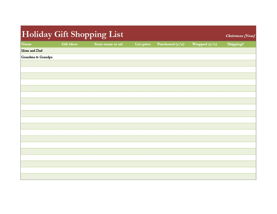 Free grocery list template 24