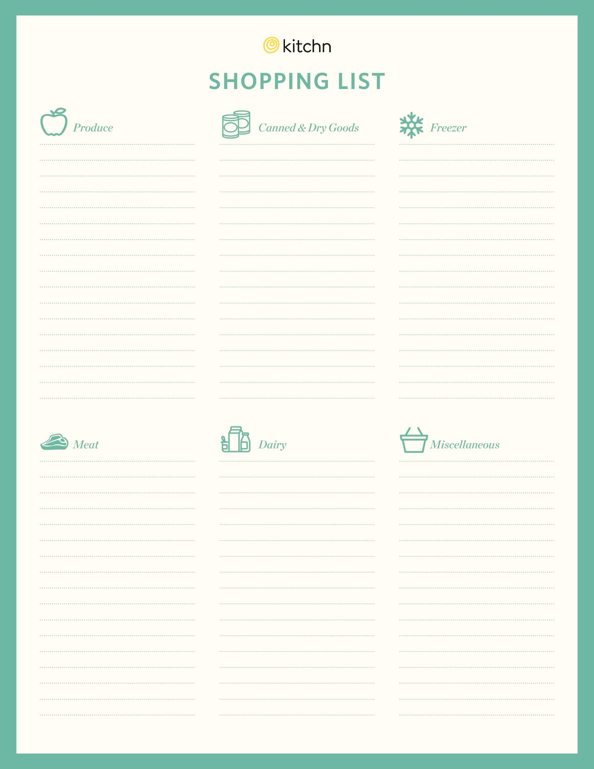 Free grocery list template 26