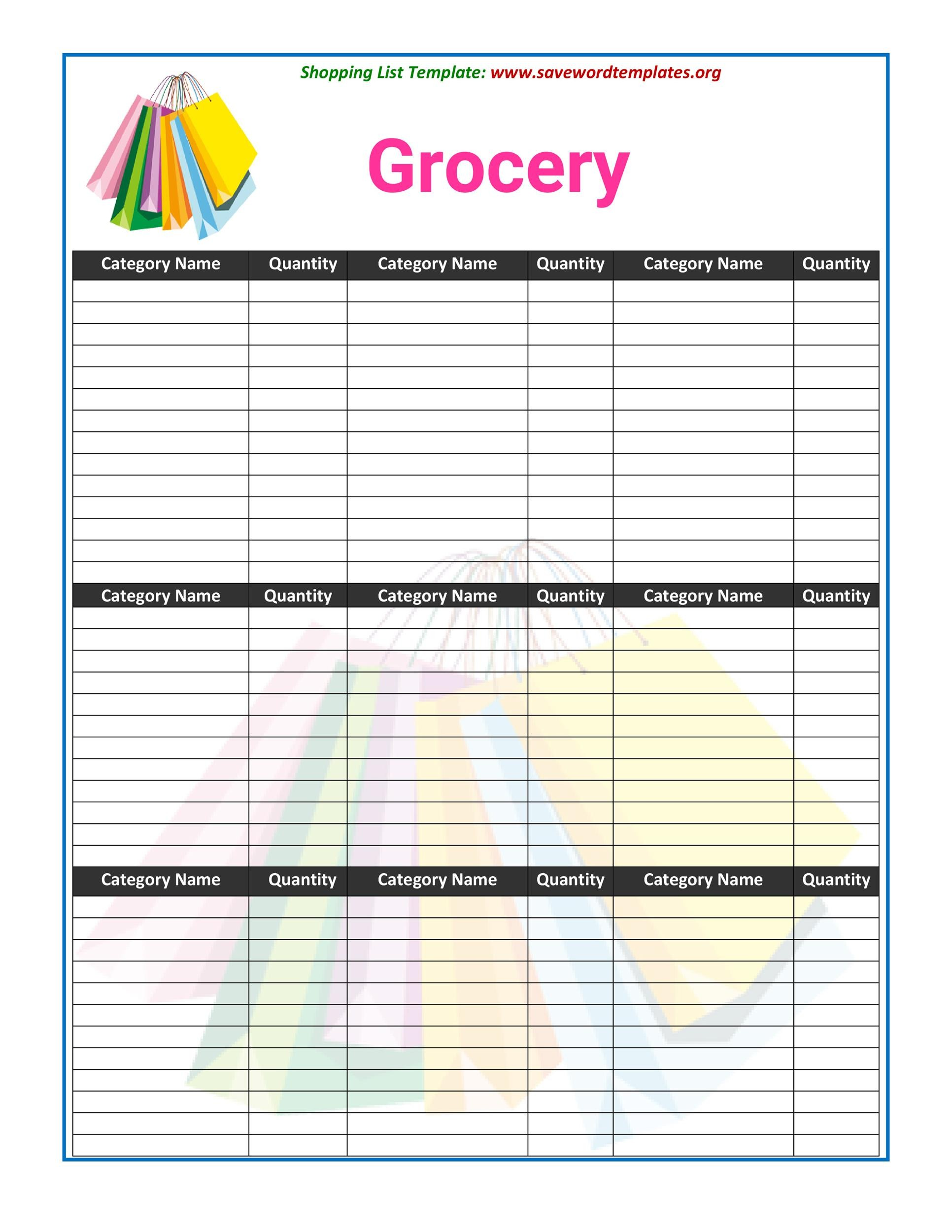 Free grocery list template 30