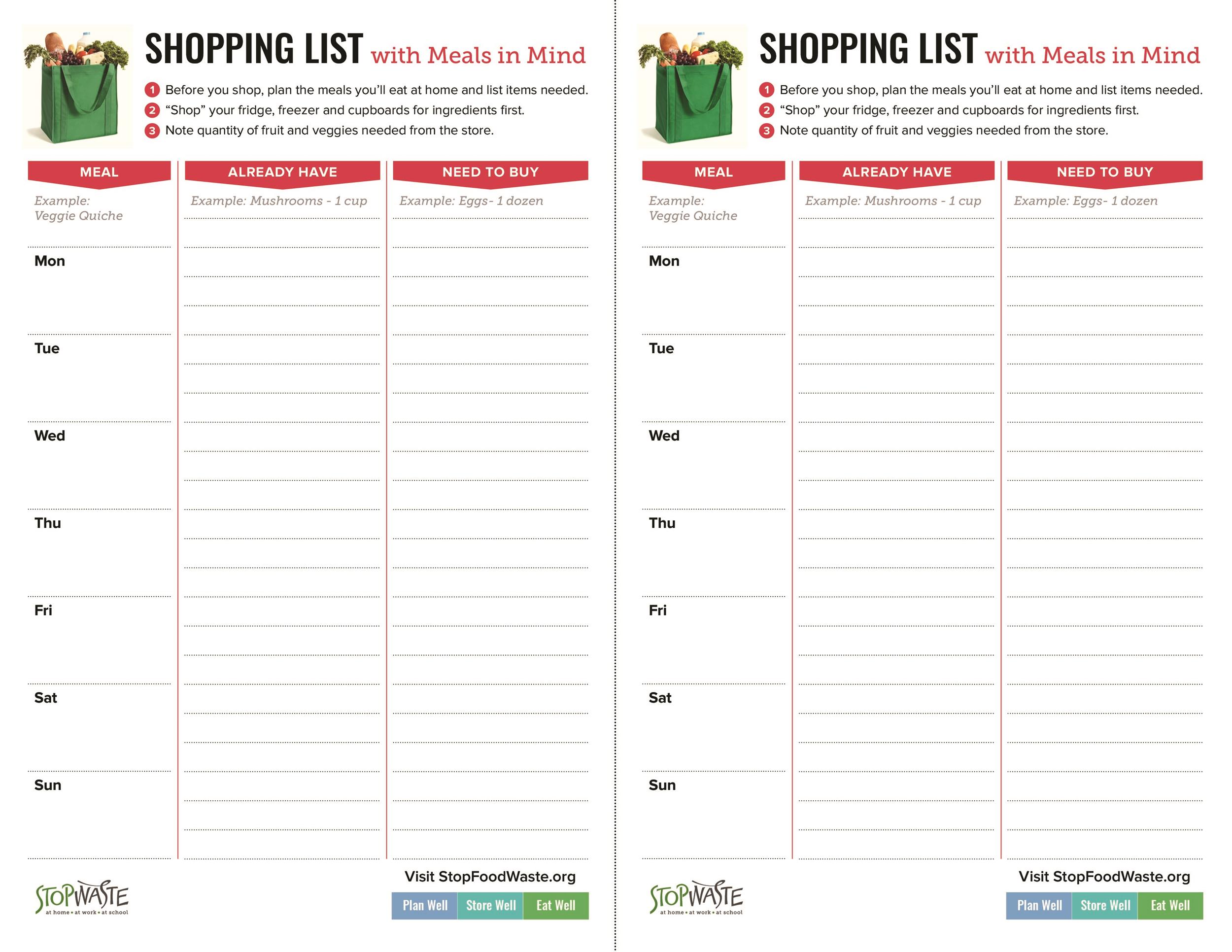 Printable Grocery List Templates Shopping List  Template Lab