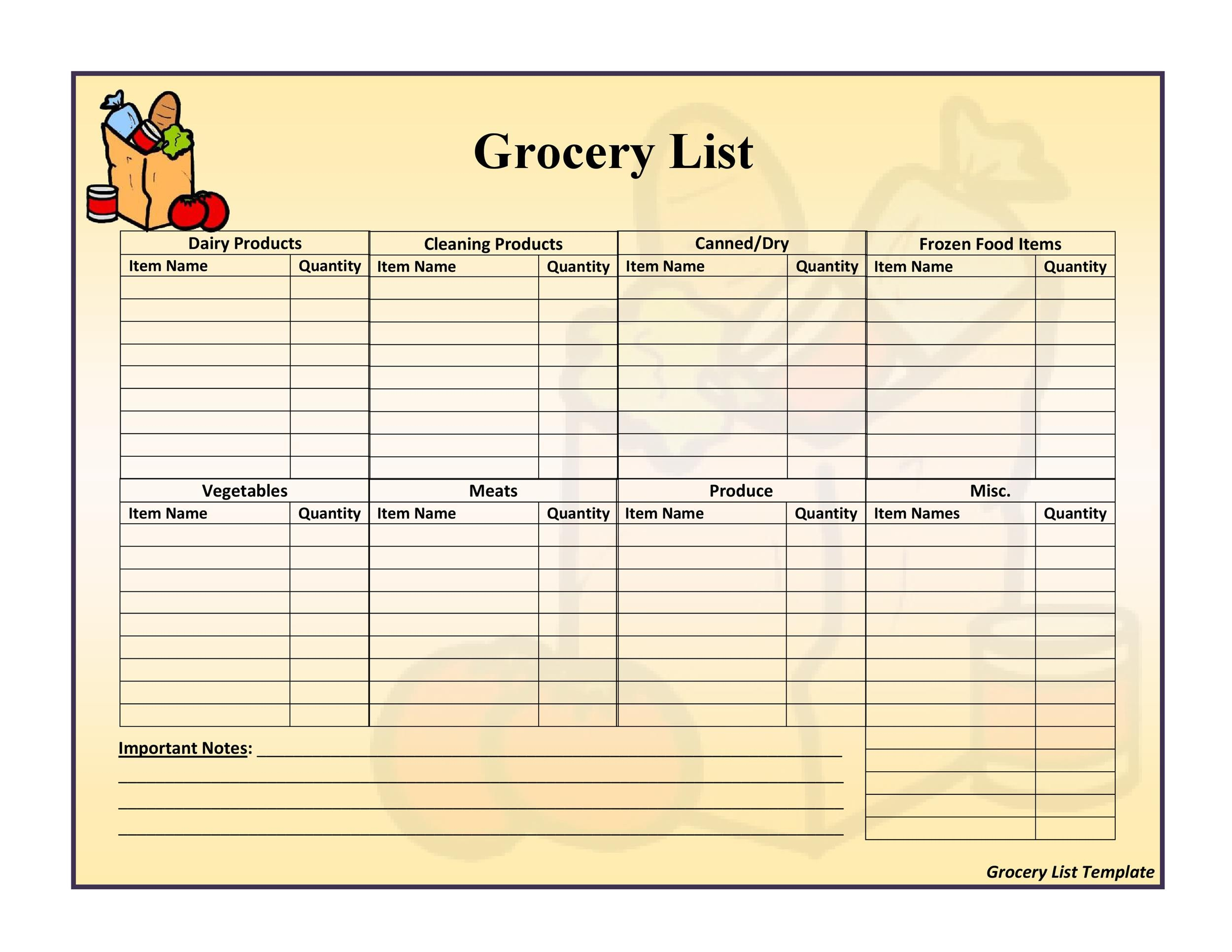 Free grocery list template 36