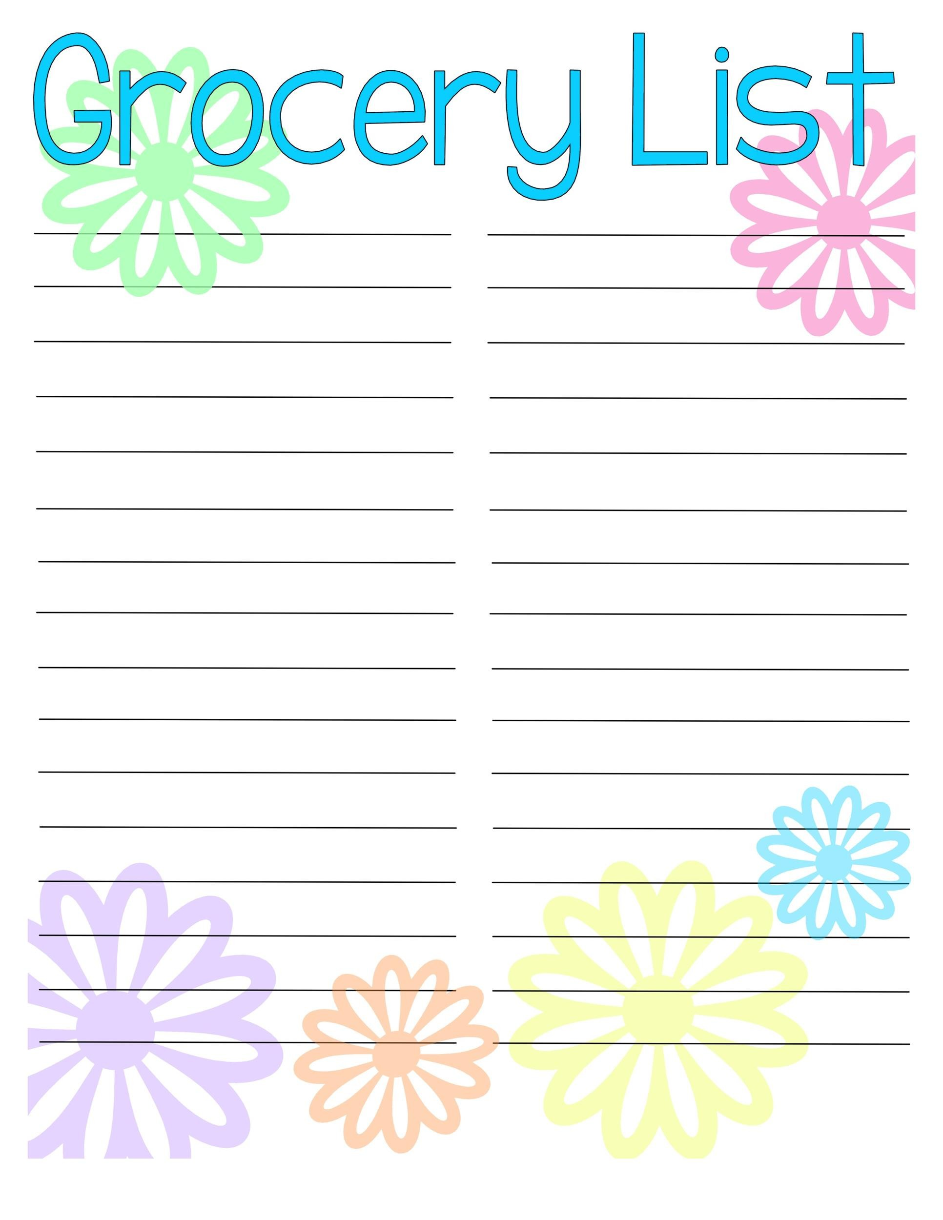 Free grocery list template 38