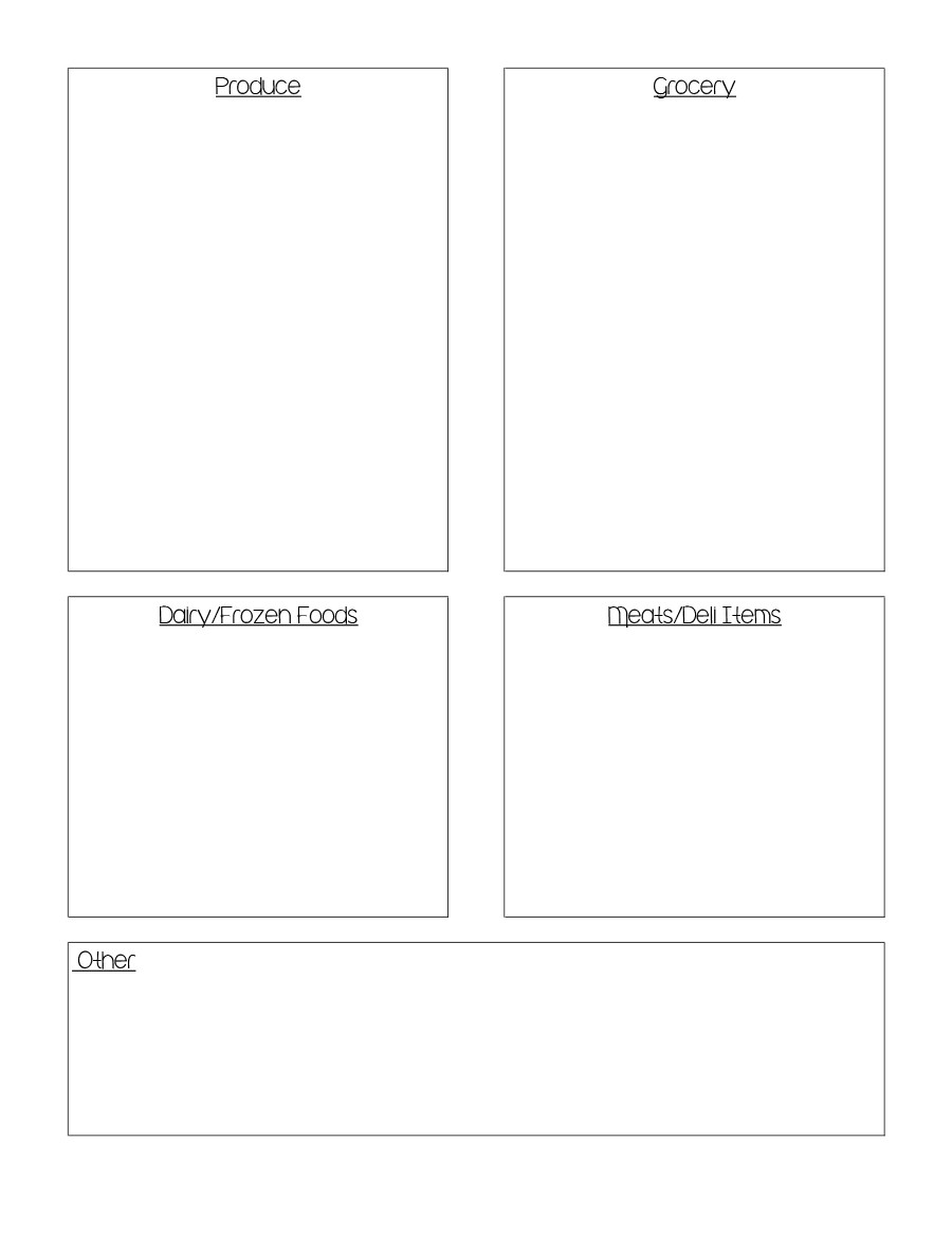 Free grocery list template 40