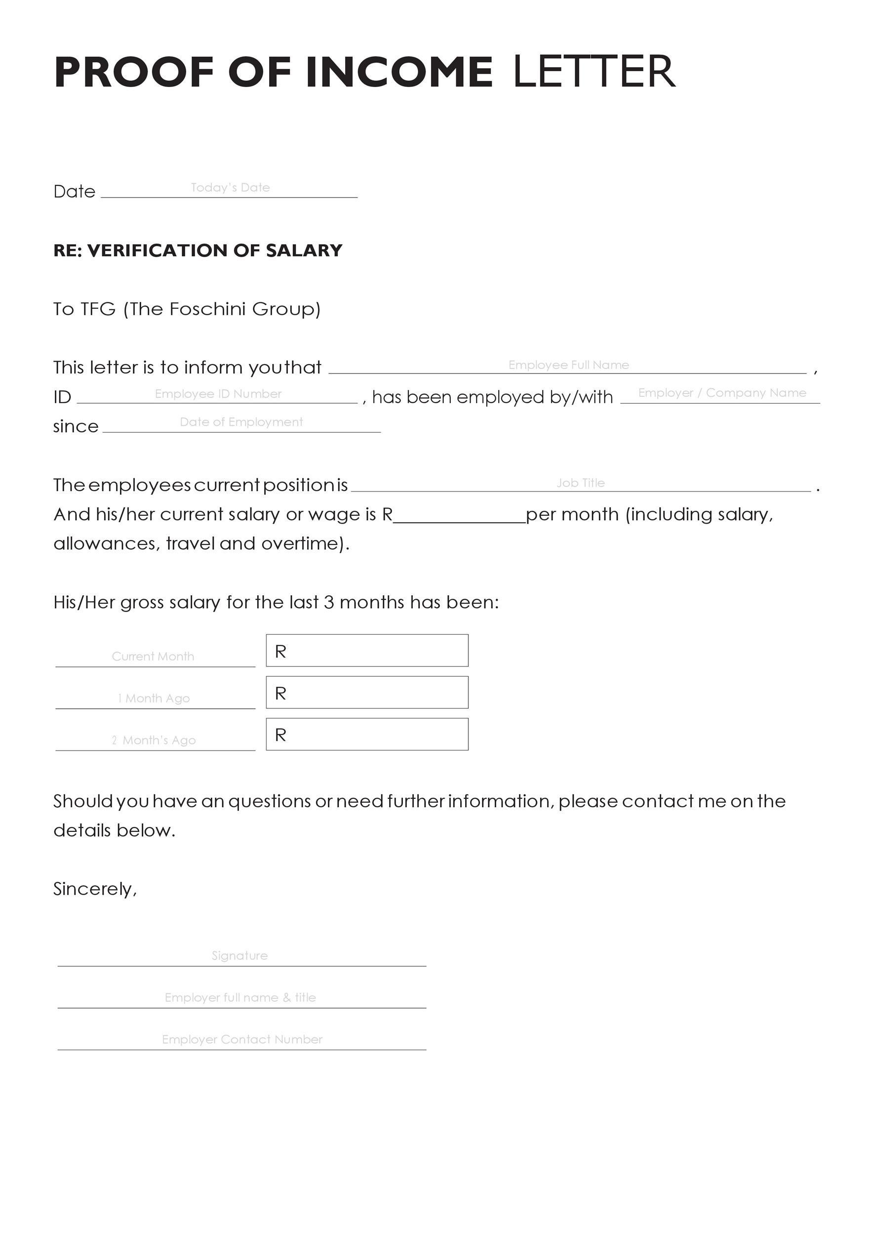Free income verification letter 01