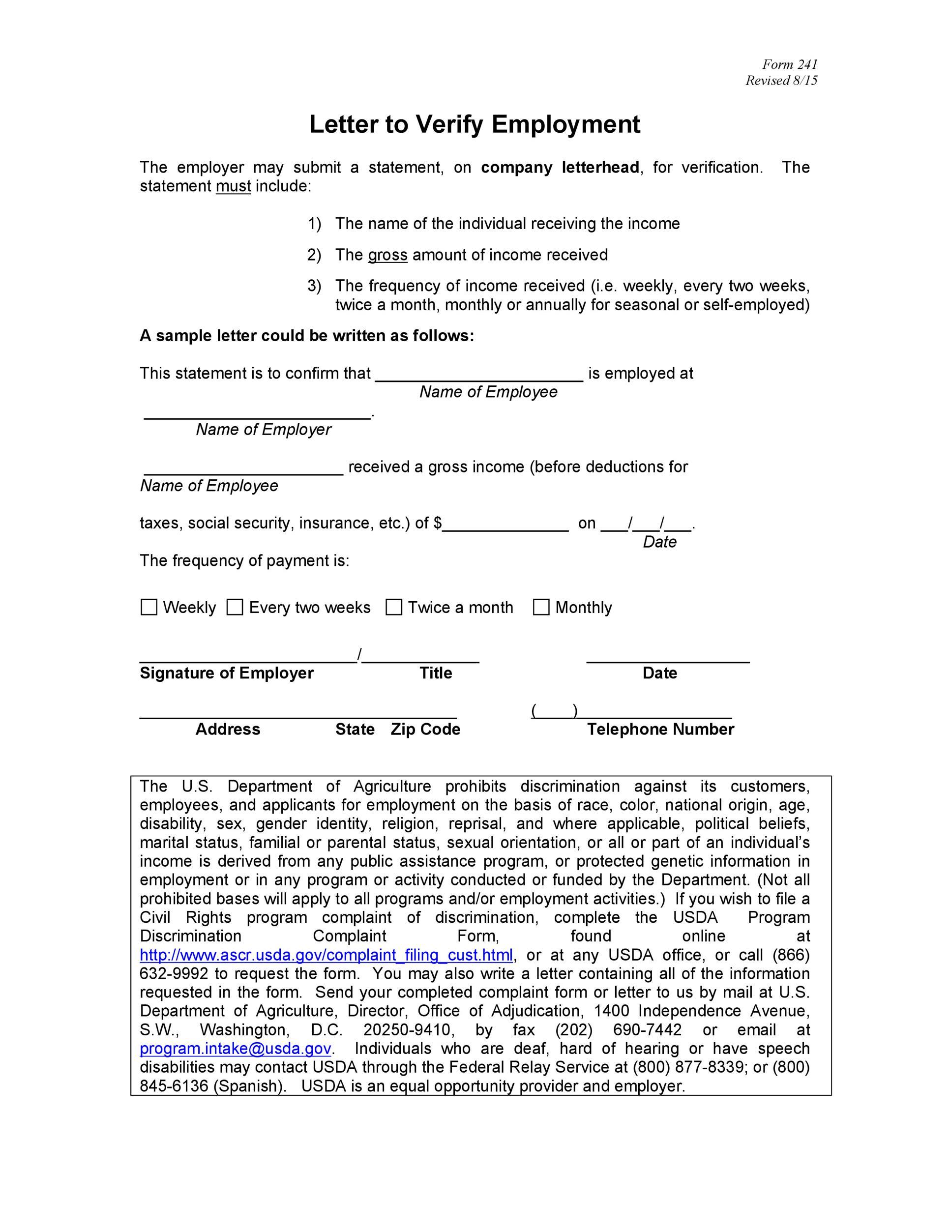 Free income verification letter 03