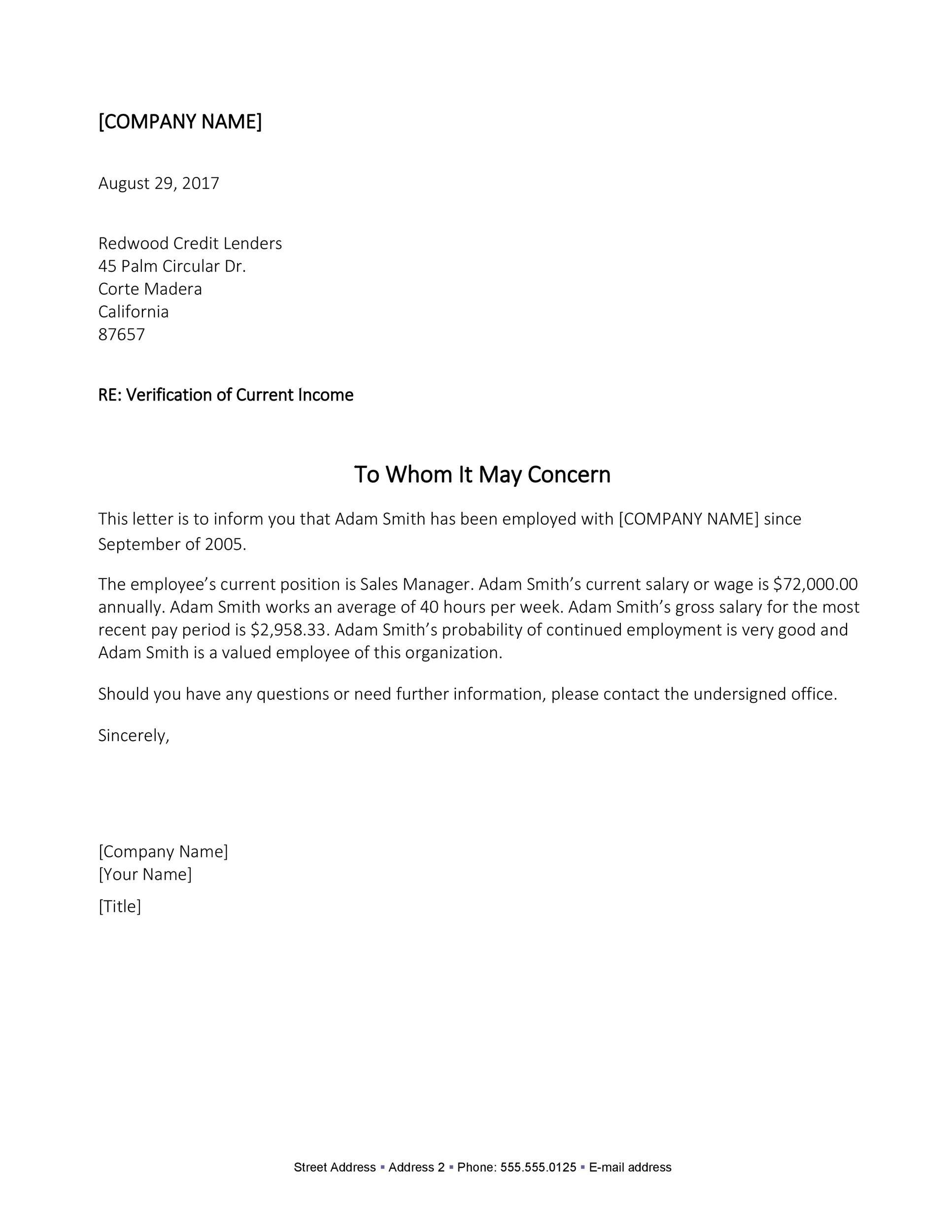 Free income verification letter 08