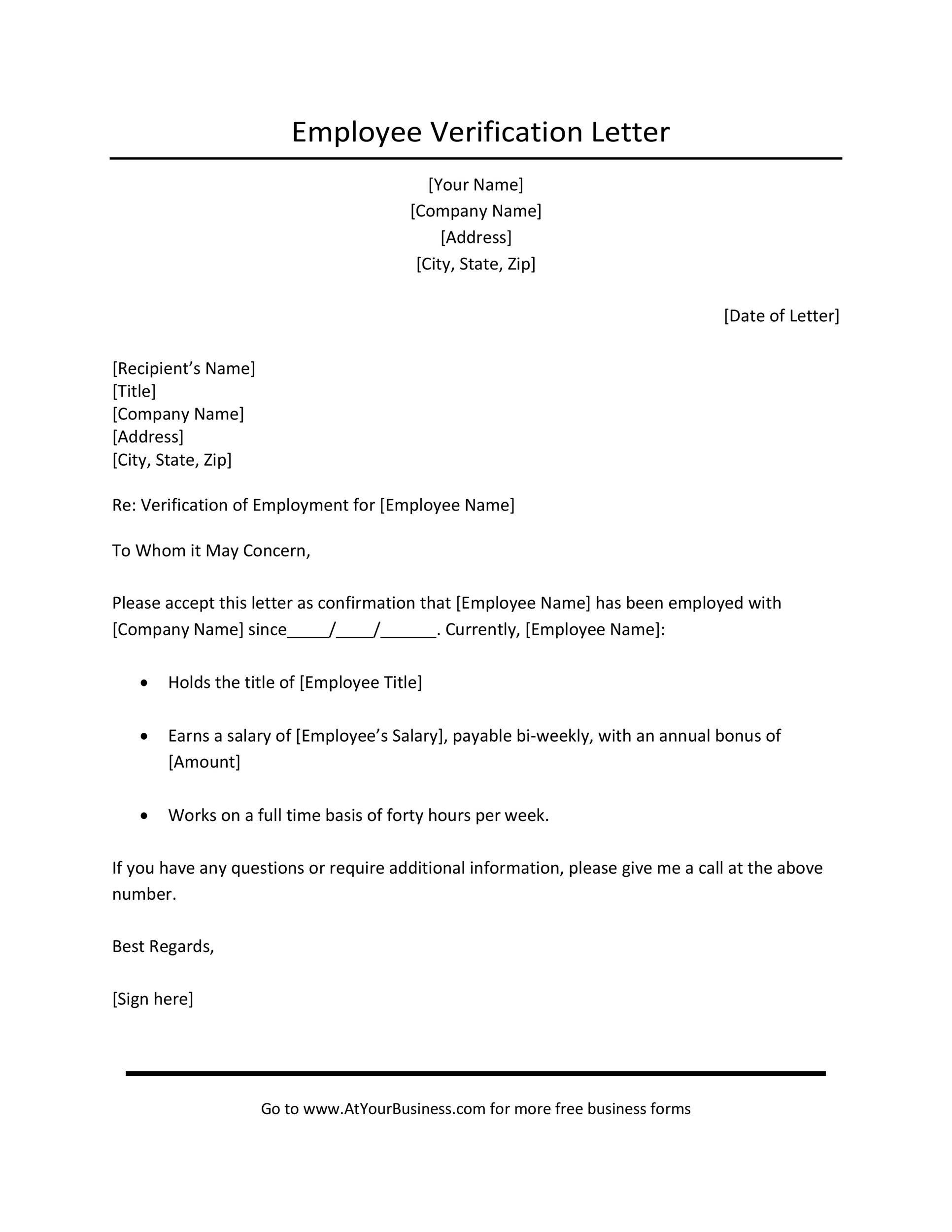 Free income verification letter 09