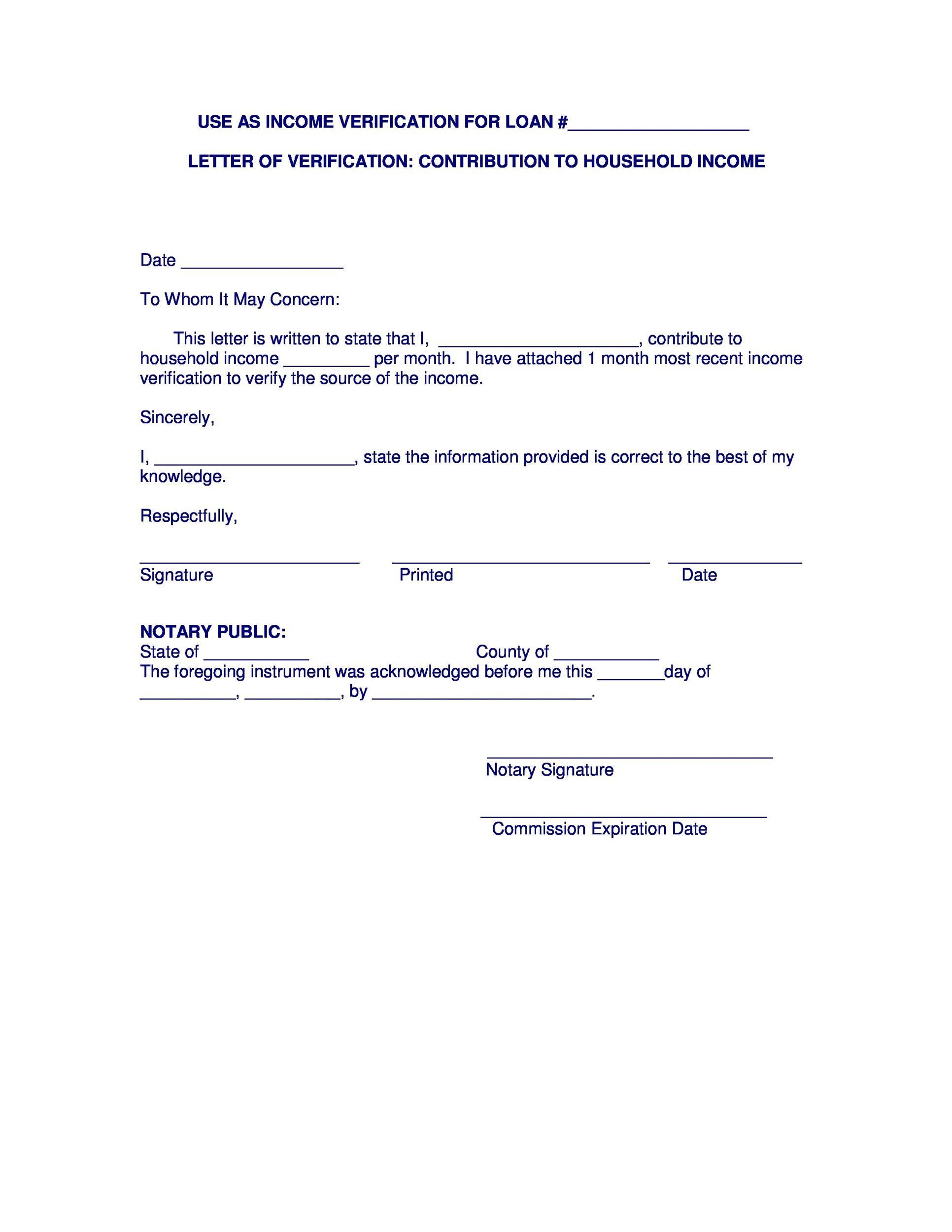 Free income verification letter 13