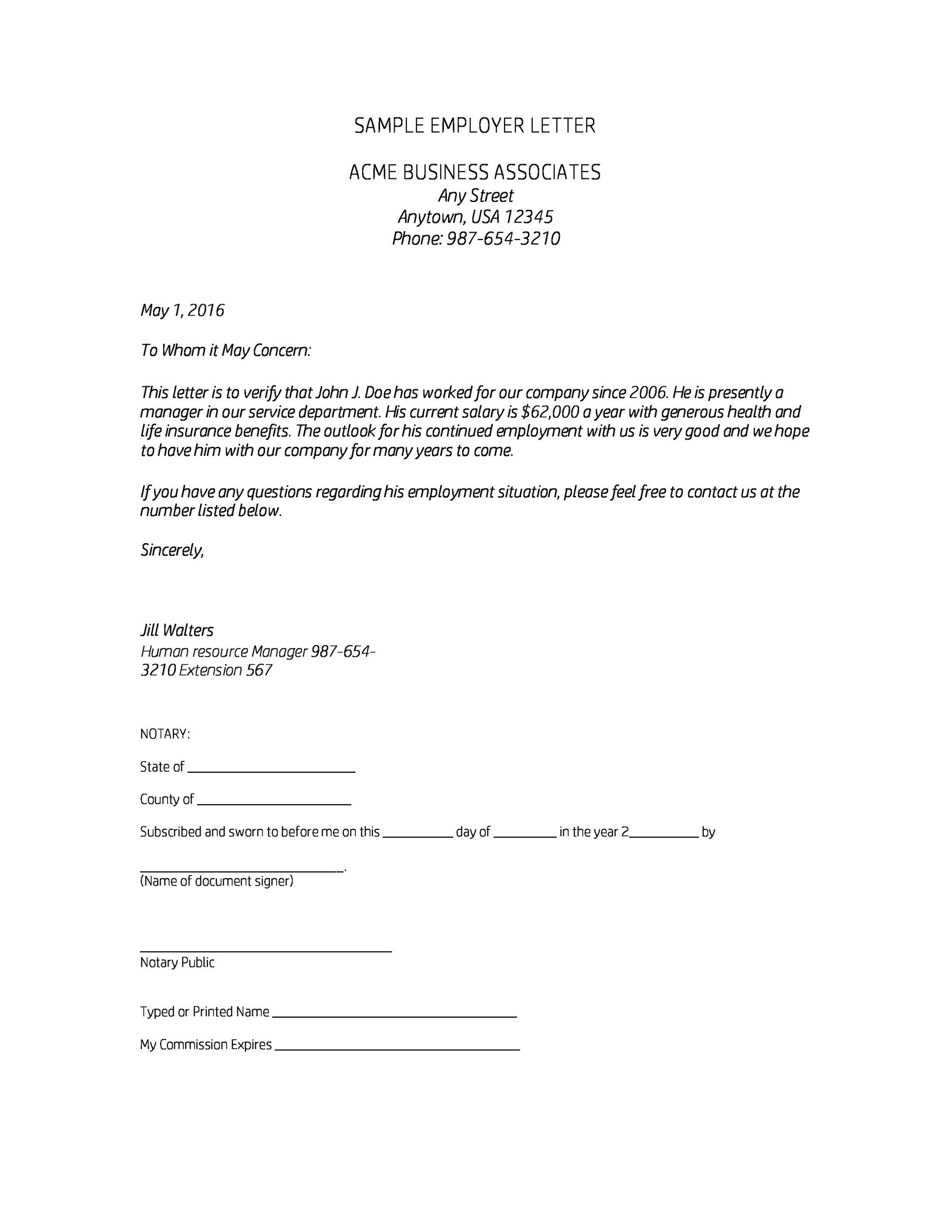 notarized letter of employment sample