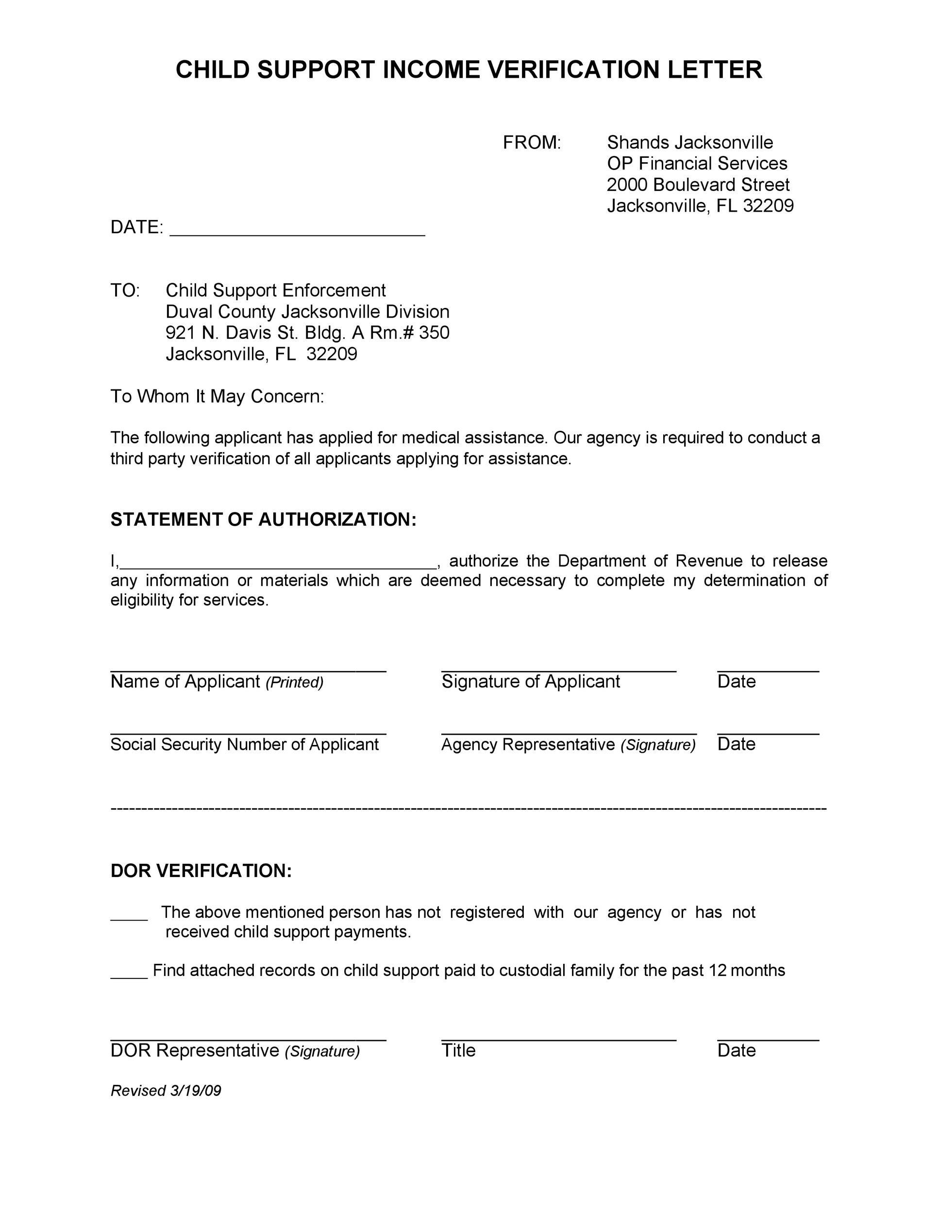Free income verification letter 19