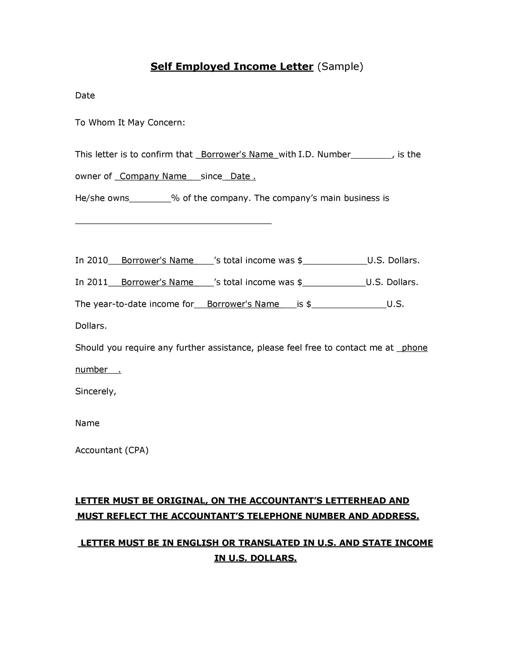 Free income verification letter 30
