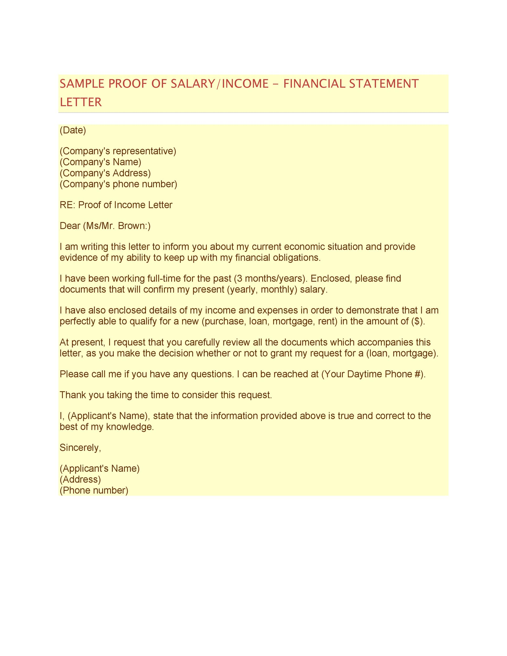 Free income verification letter 35