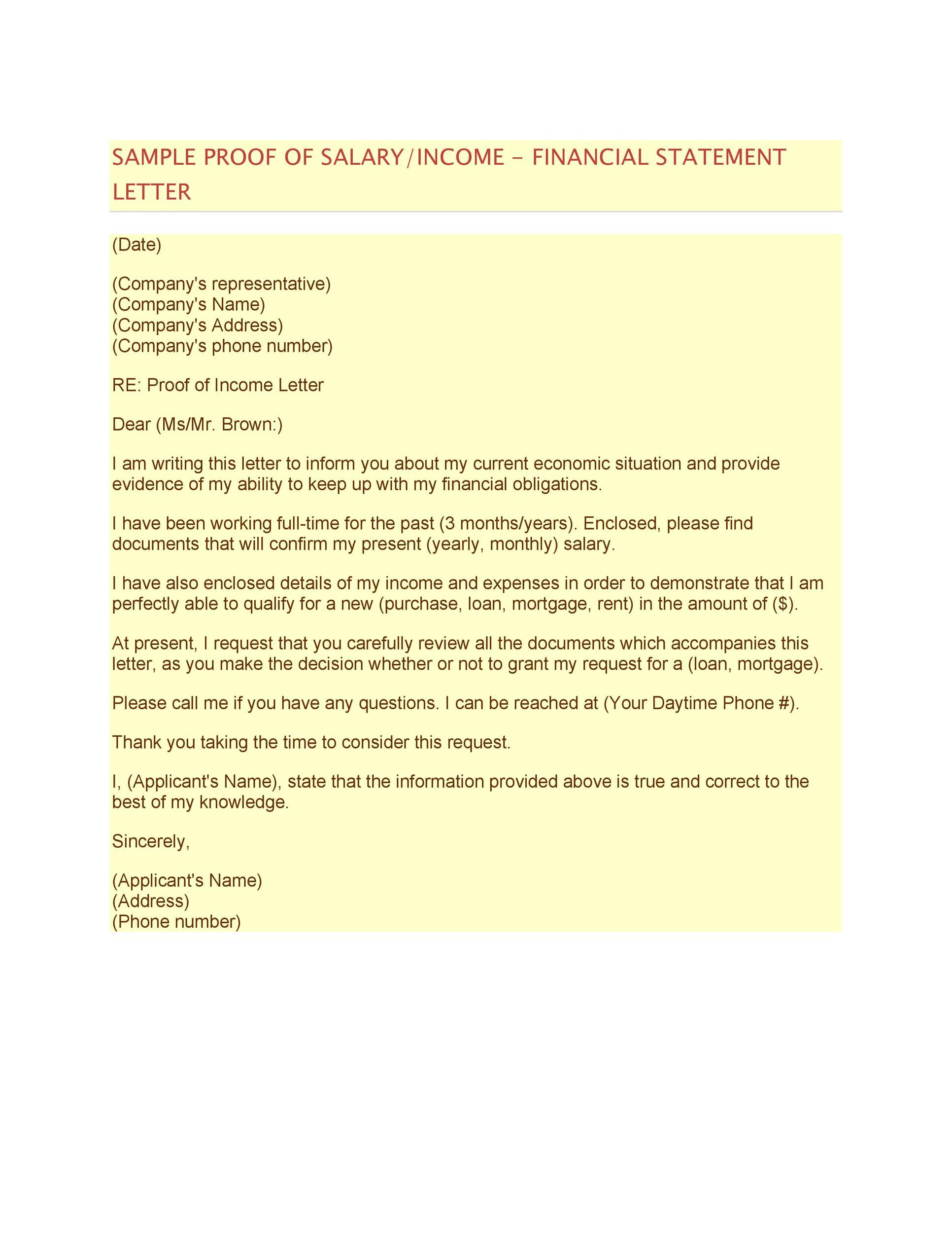 Free income verification letter 35