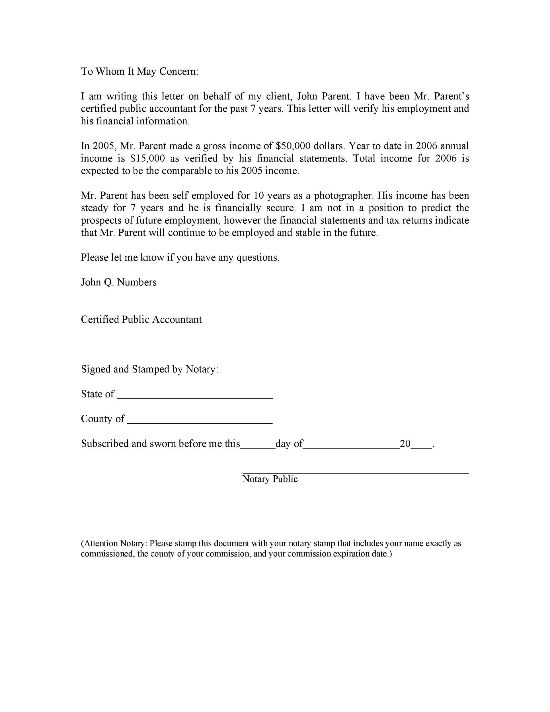 Income Proof Letter Sample from templatelab.com